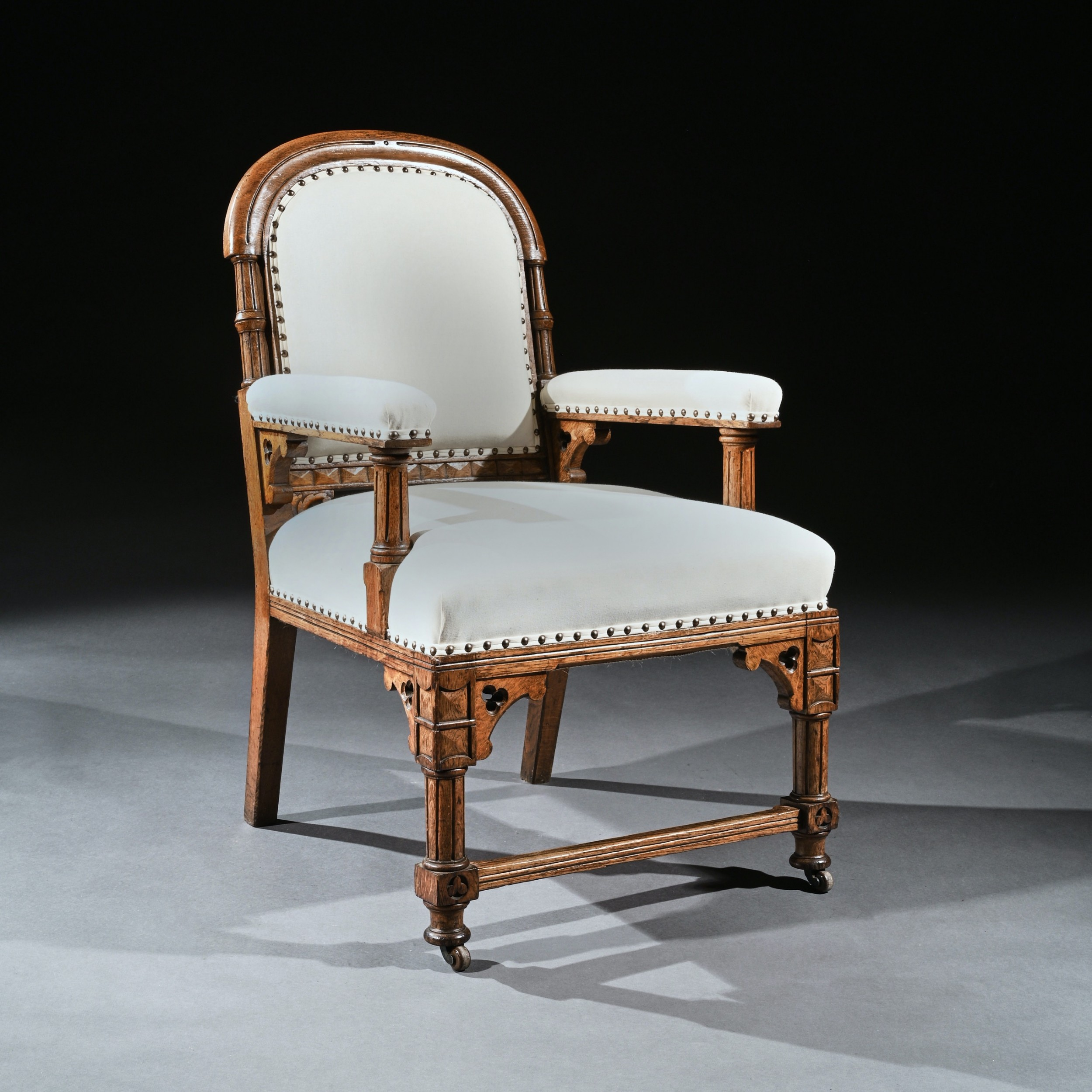 19th century oak gothic armchair by g tilley of birmingham