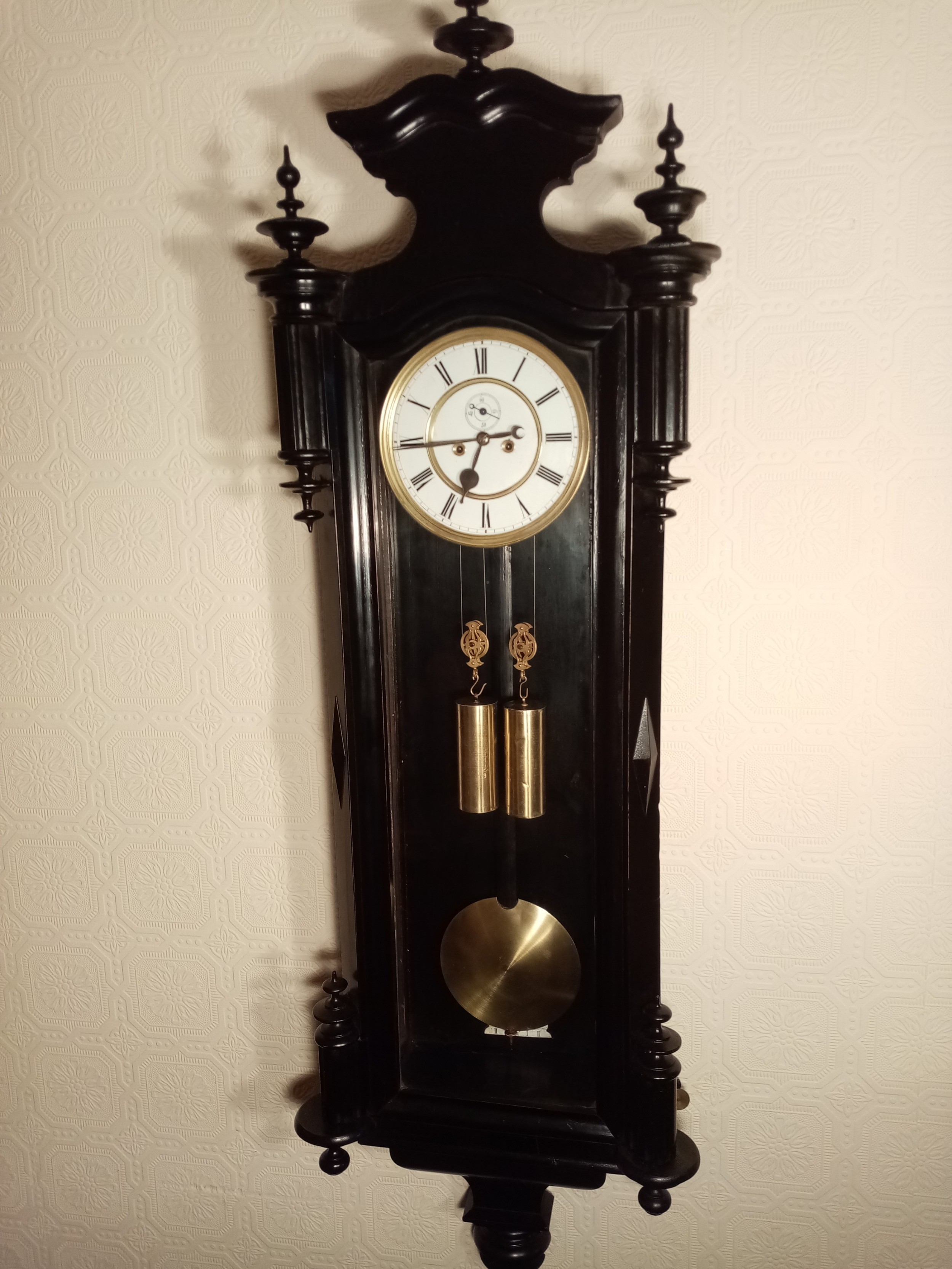 ebonised doubleweight vienna wall clock by gebruder resch