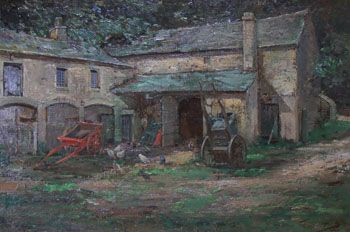 kershaw schofield the old cart shed oil painting