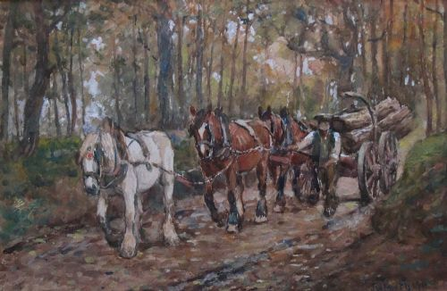 james william booth watercolour the logging cart