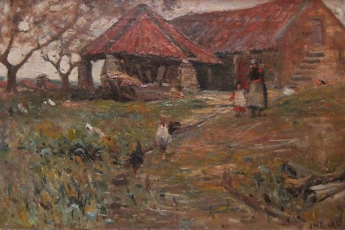 james william booth the farm yard oil painting