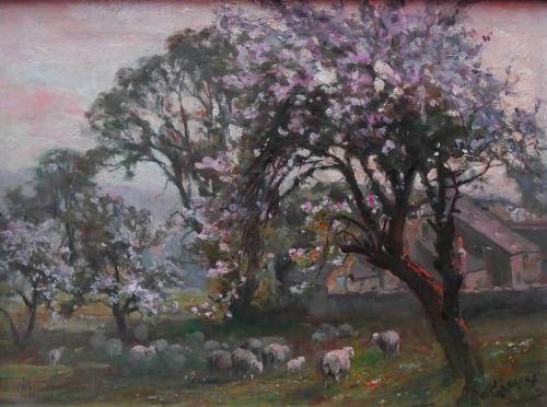 william greaves apple blossomwharfedale oil painting