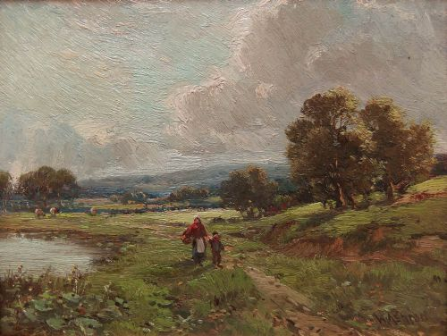 william ashton the path by the pond oil painting