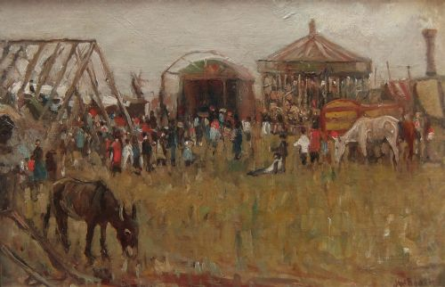 james william booth a country fair oil painting