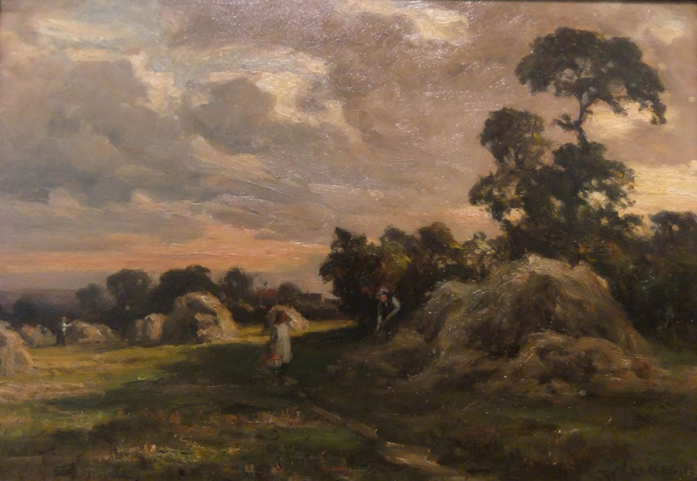 william greaves hay time east keswick oil painting