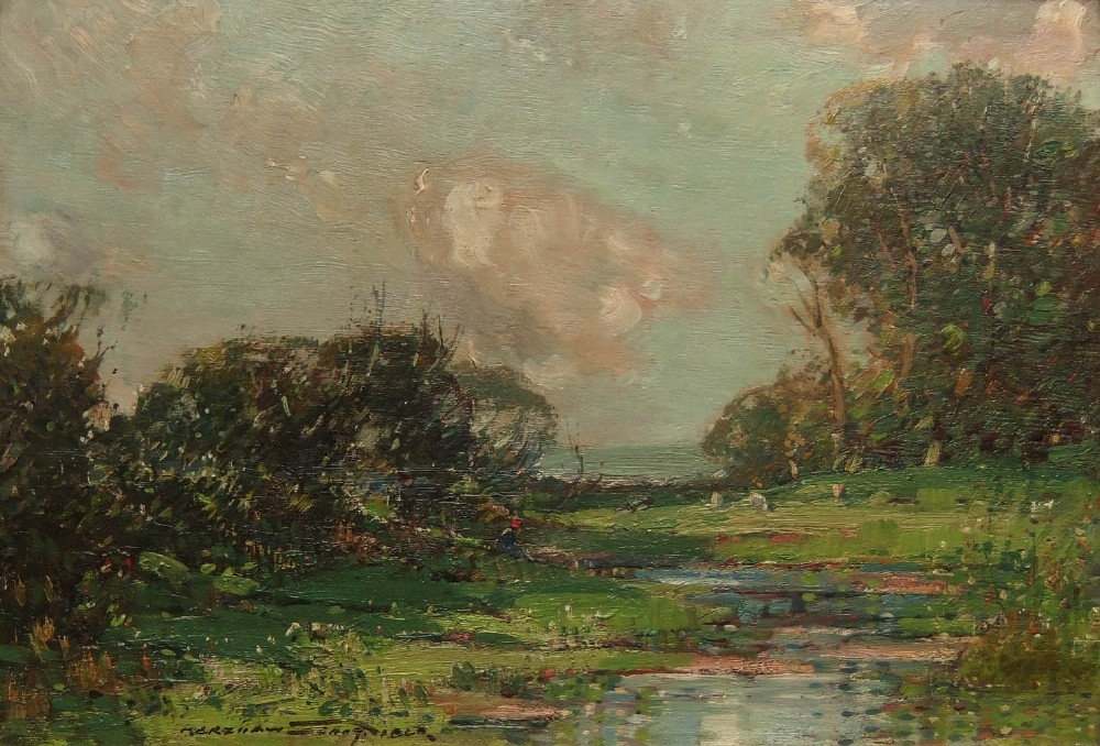 kershaw schofield the farm pond oil painting