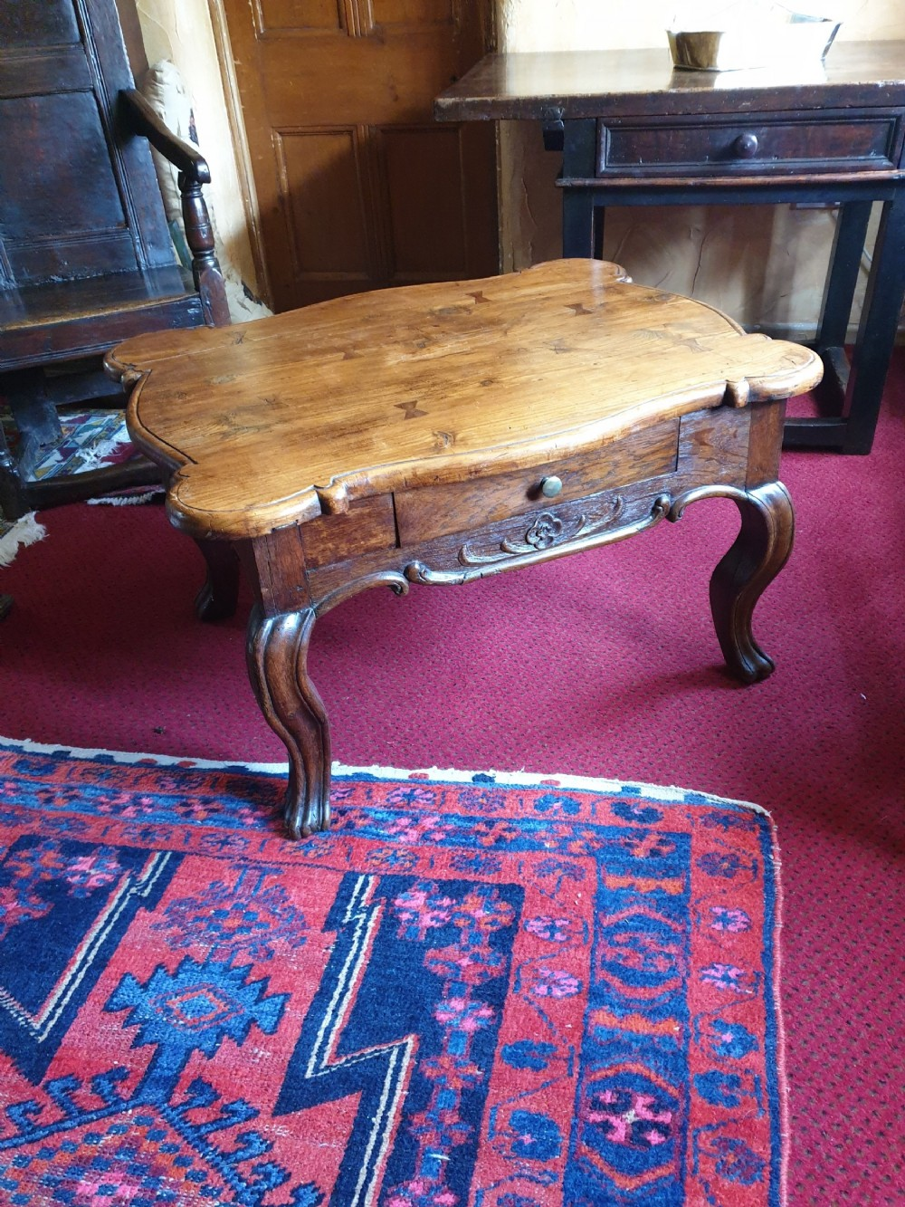 antique french elm low table provence great colour