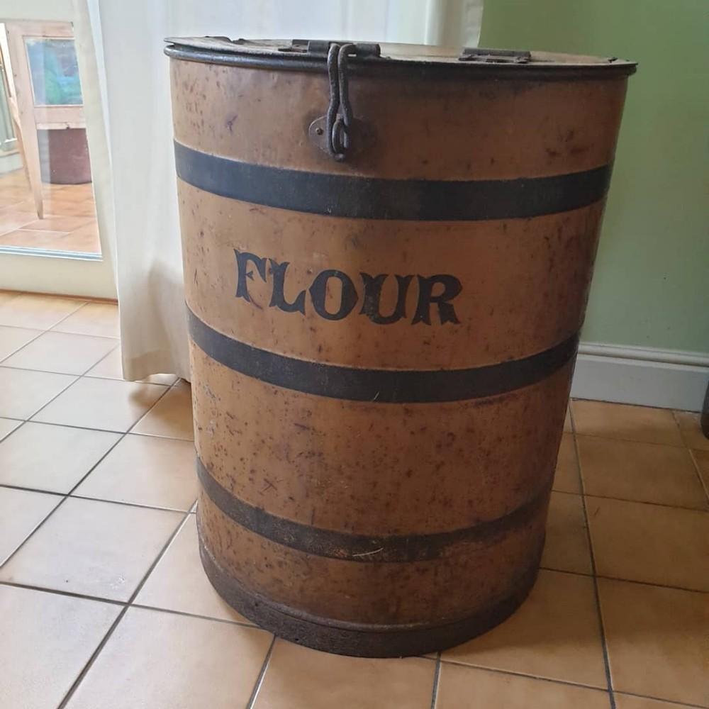 scarce 19thc original large metal flour bin