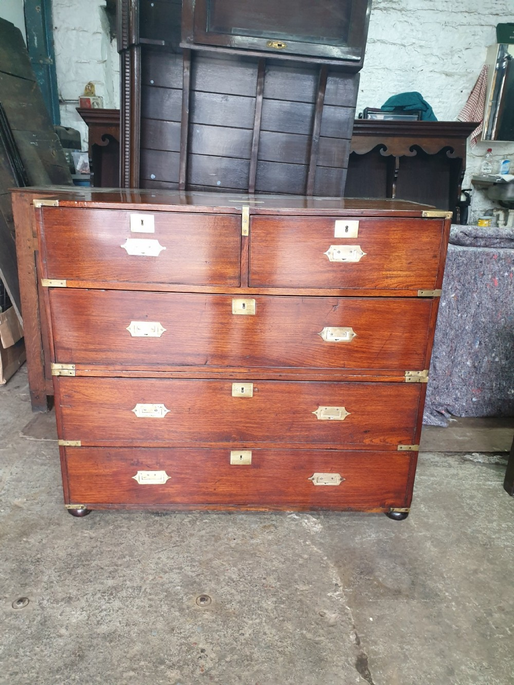 a good original early 19th century mahogany brass bound 2 part military chest fully stamped