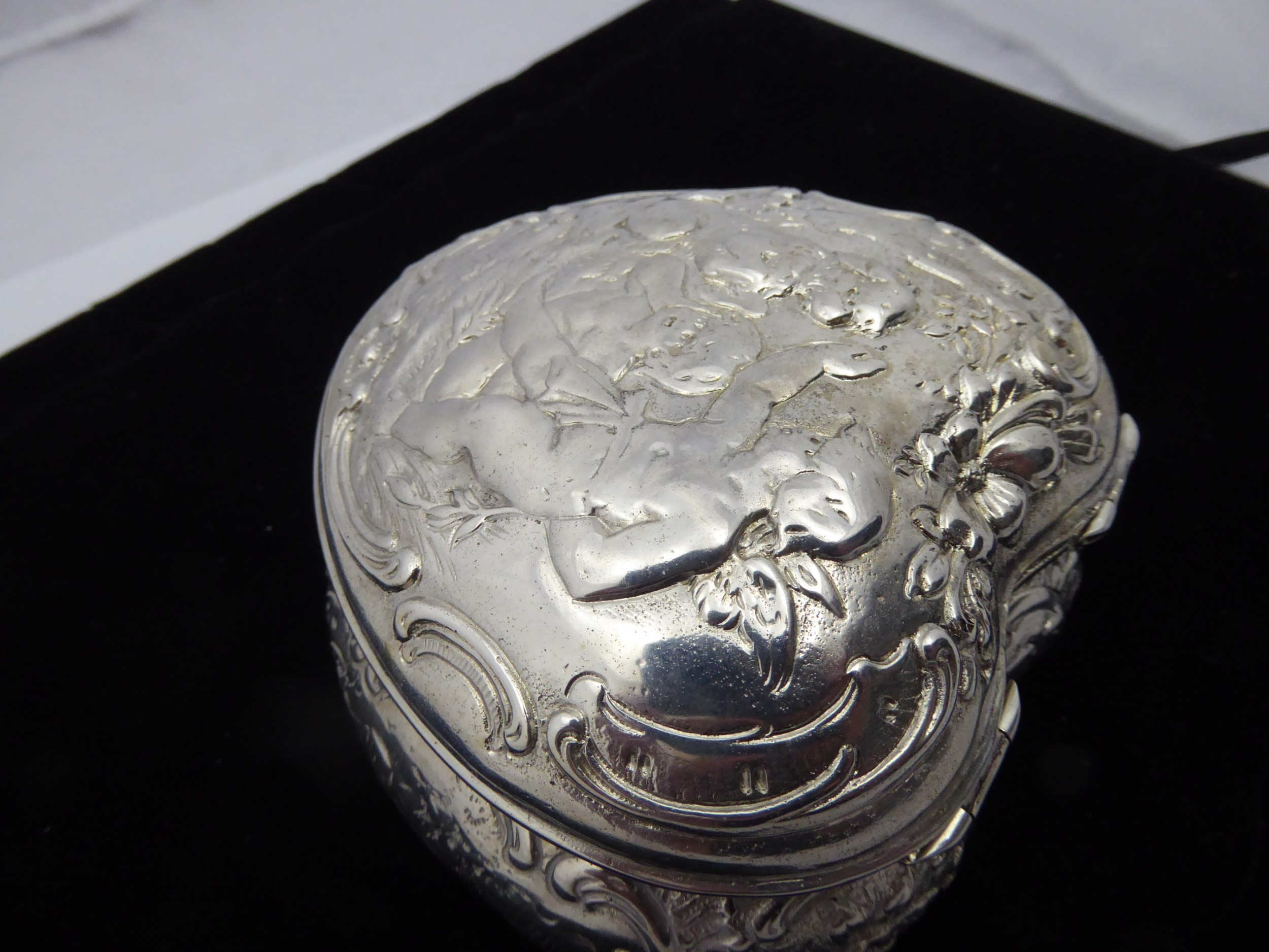 solid silver old dutch heart box