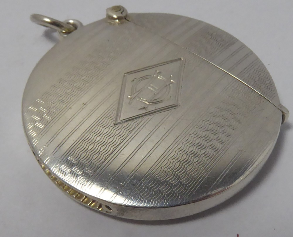 solid silver round vesta case 1923