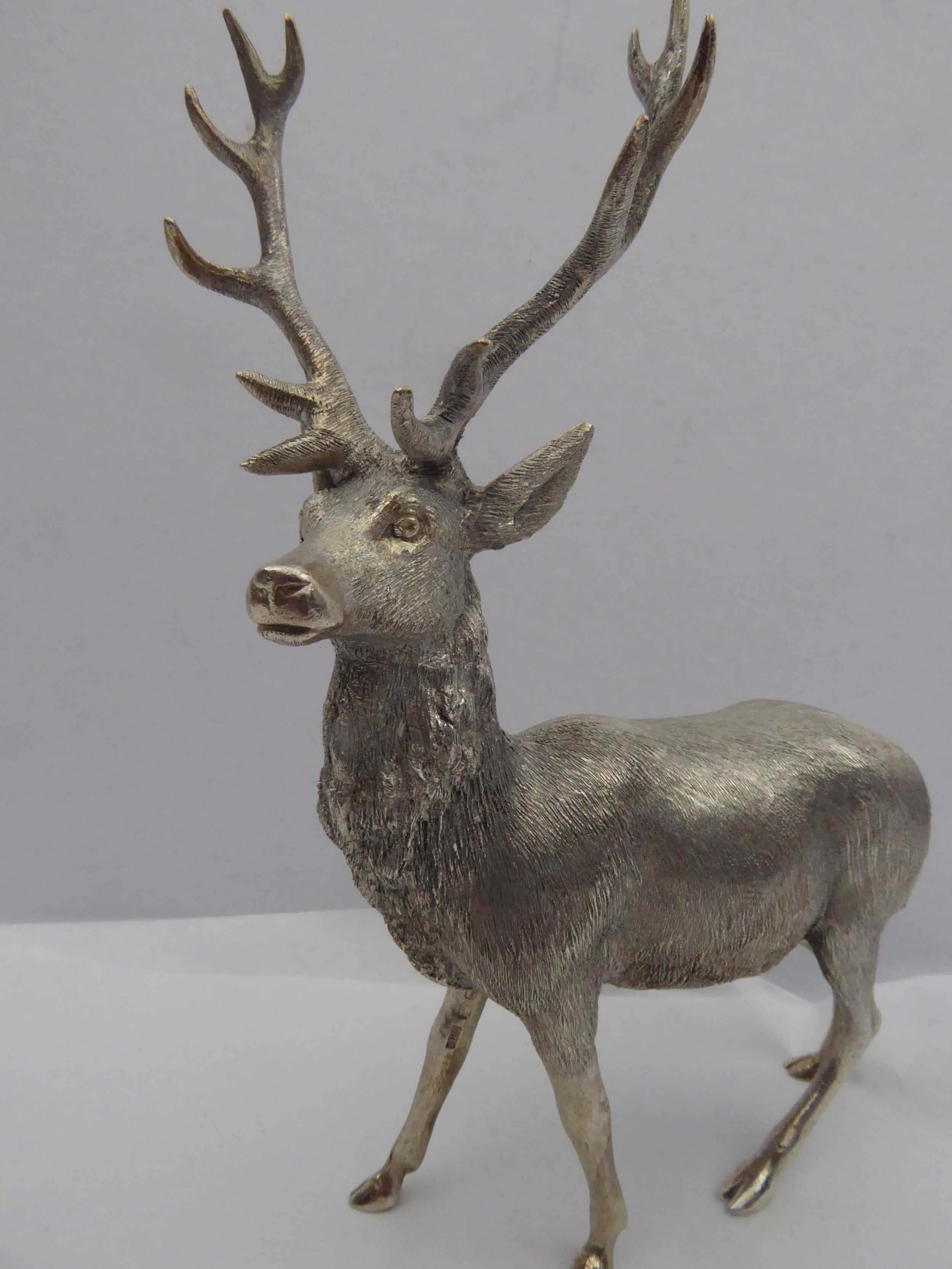 solid silver model of a stag