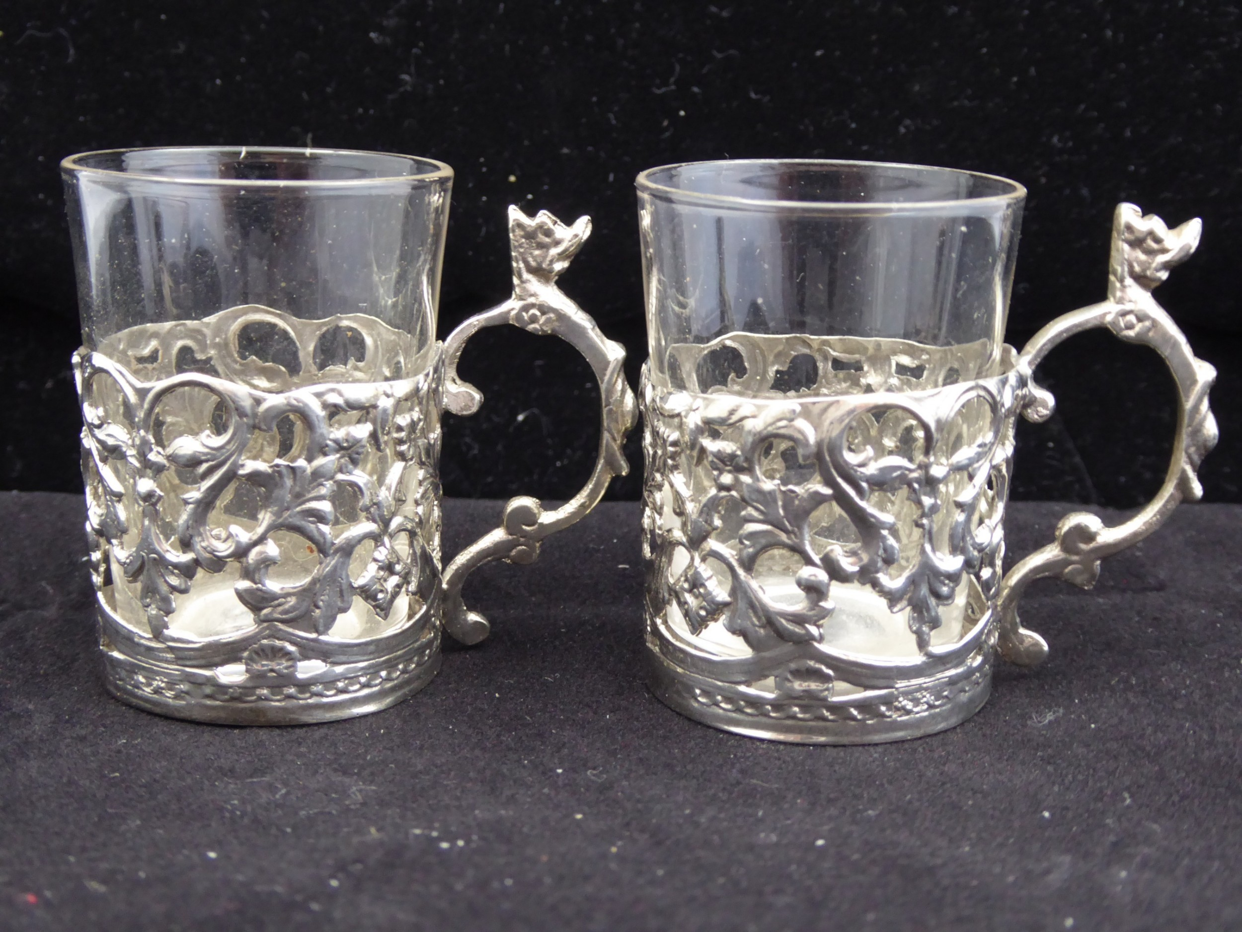 solid silver and glass shot glasses