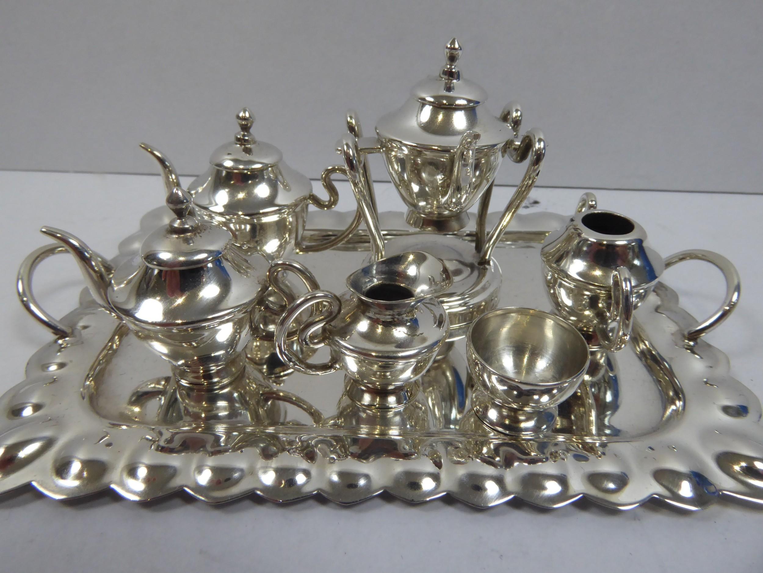 stunning solid silver minature 8 pce tea set