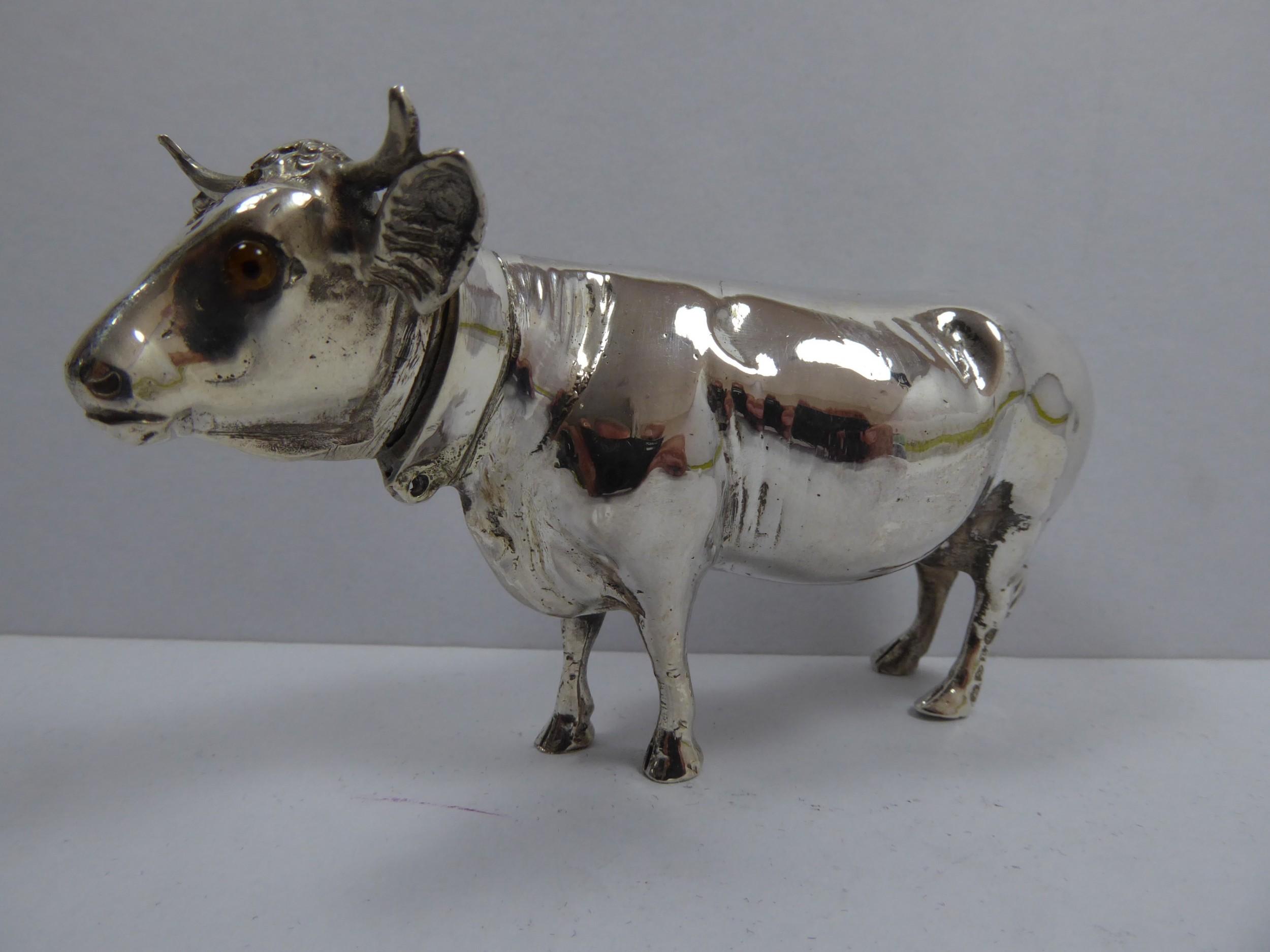 rare solid silver cow pepper pot