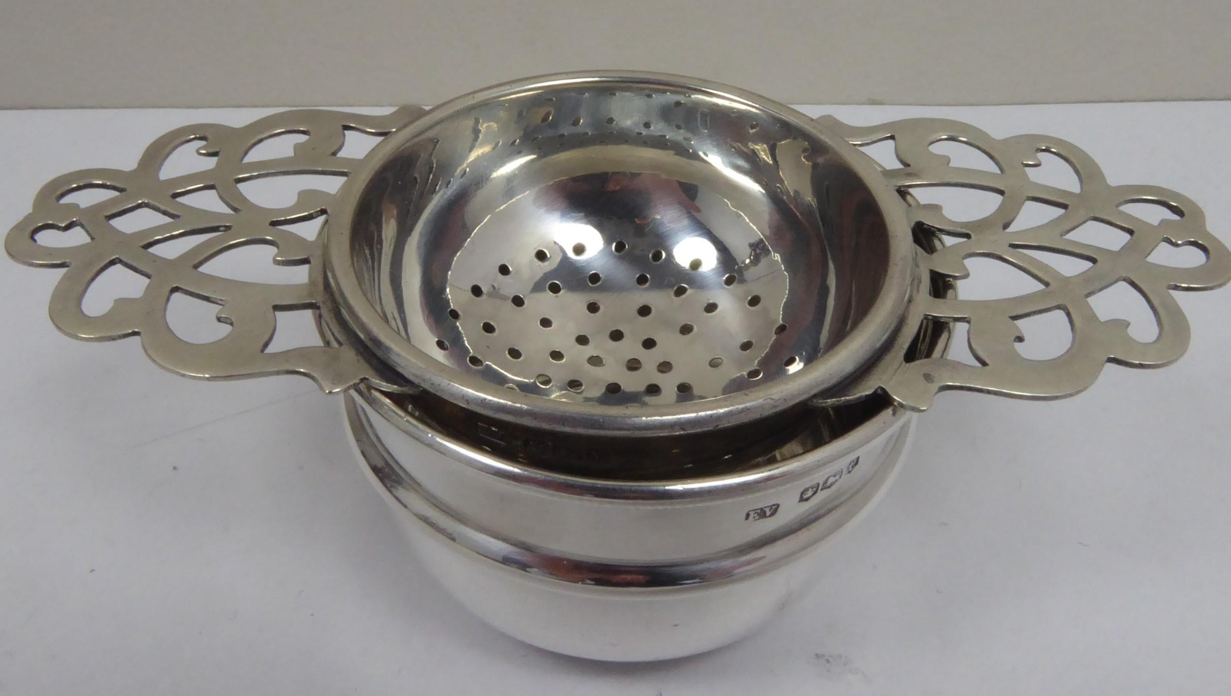 solid silver tea strainer 1936