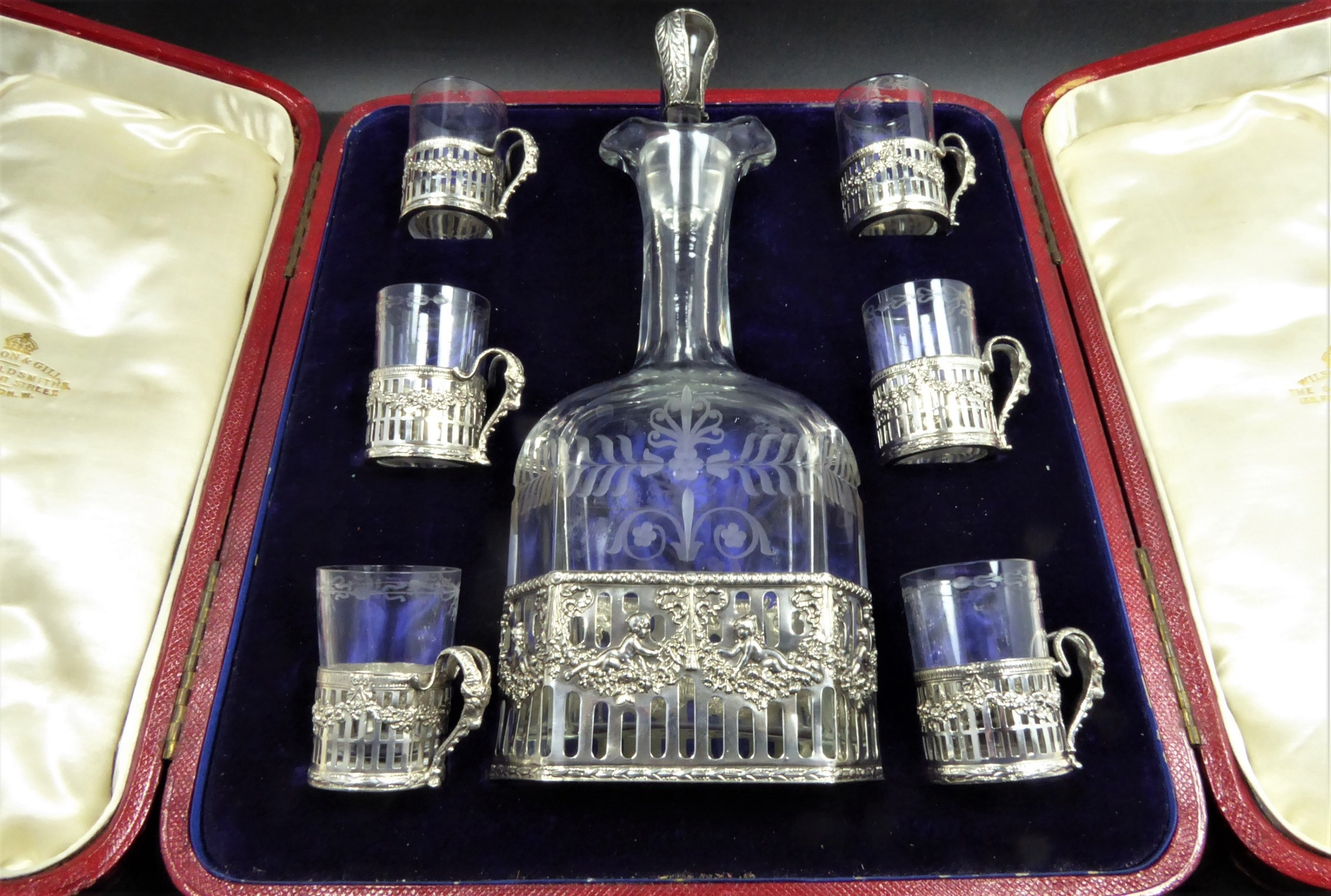 stunning decanter and tot set 1900's