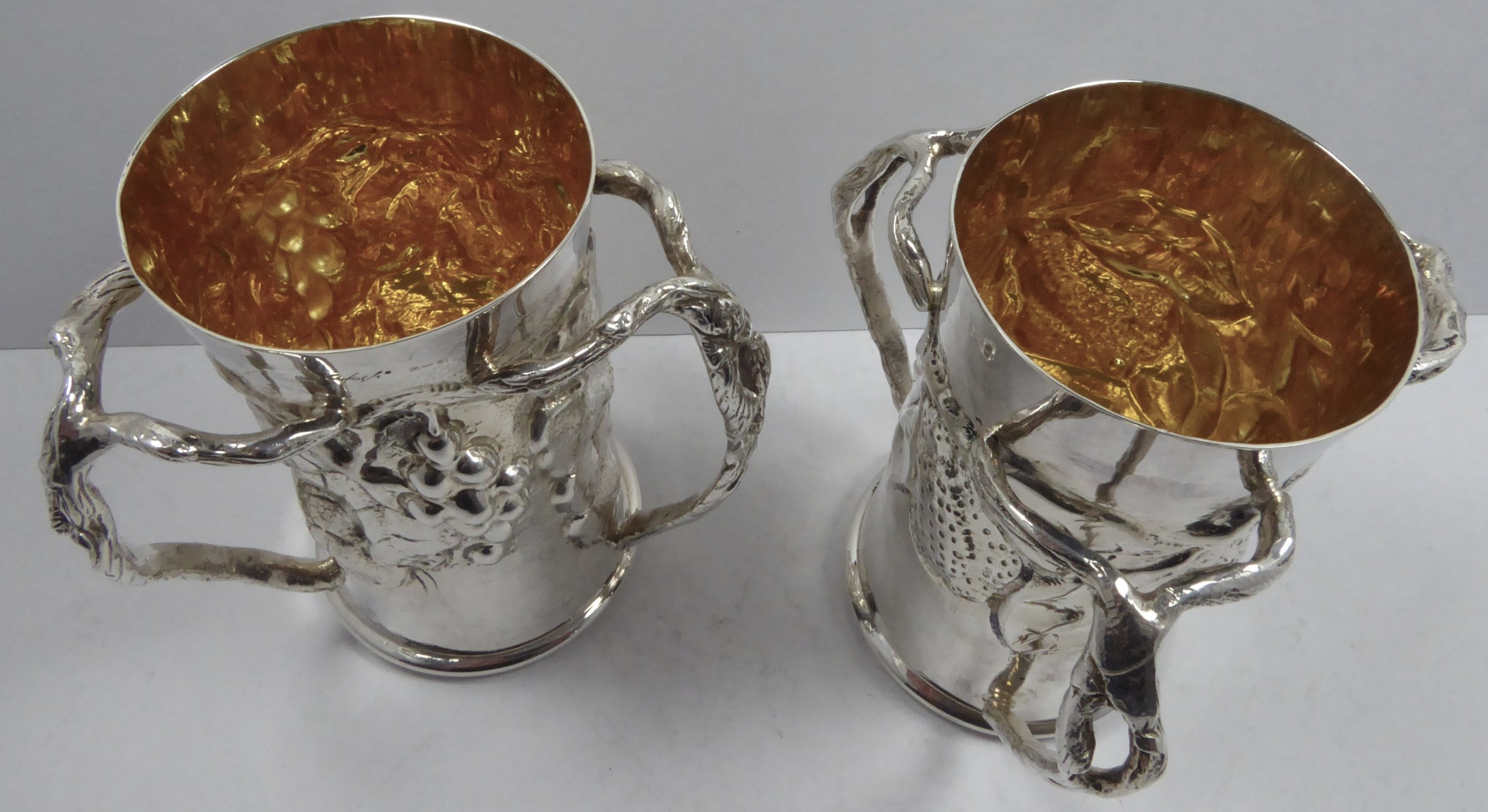rare solid silver italian tyge pair of vasescups