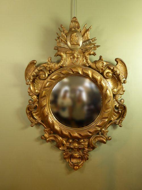 a 19th c gilt convex mirror