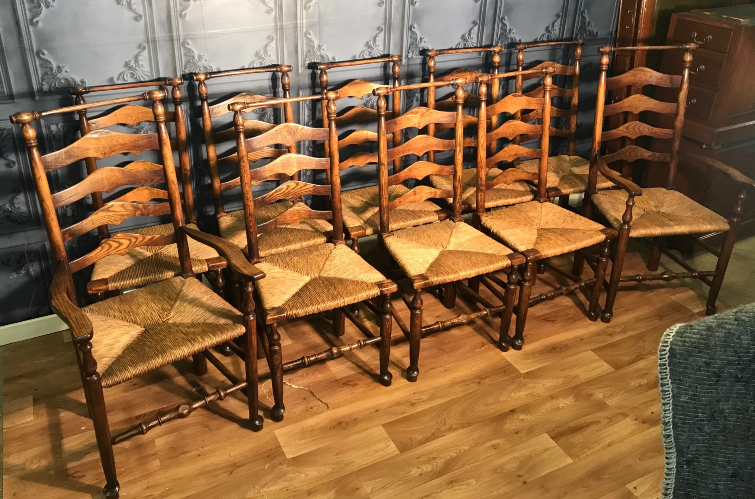 good set of ten 18th century style ladder back dining chairs
