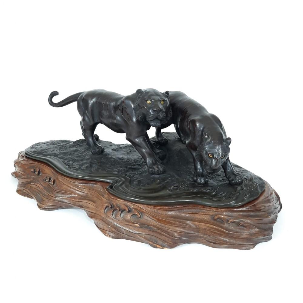 japanese bronze tigers on wood base