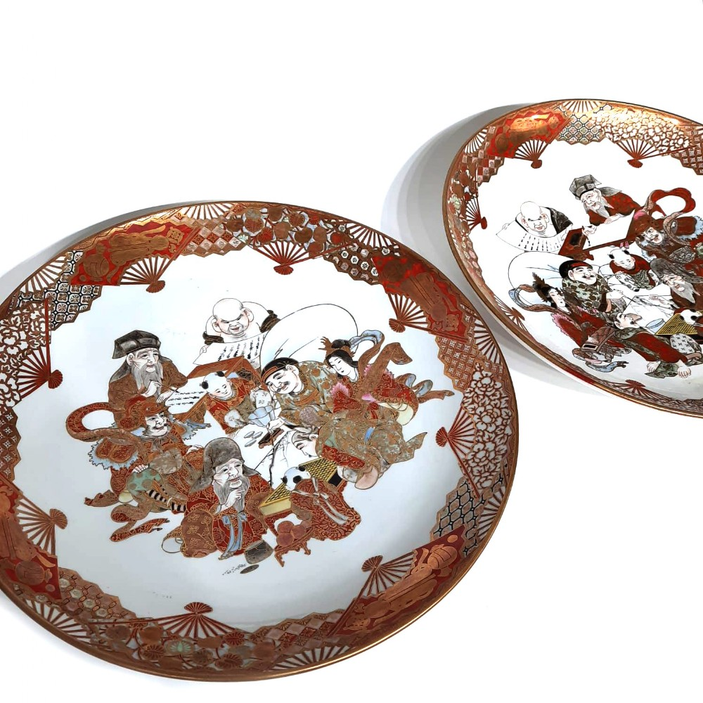 pair japanese kutani plate with seven lucky gods decoration
