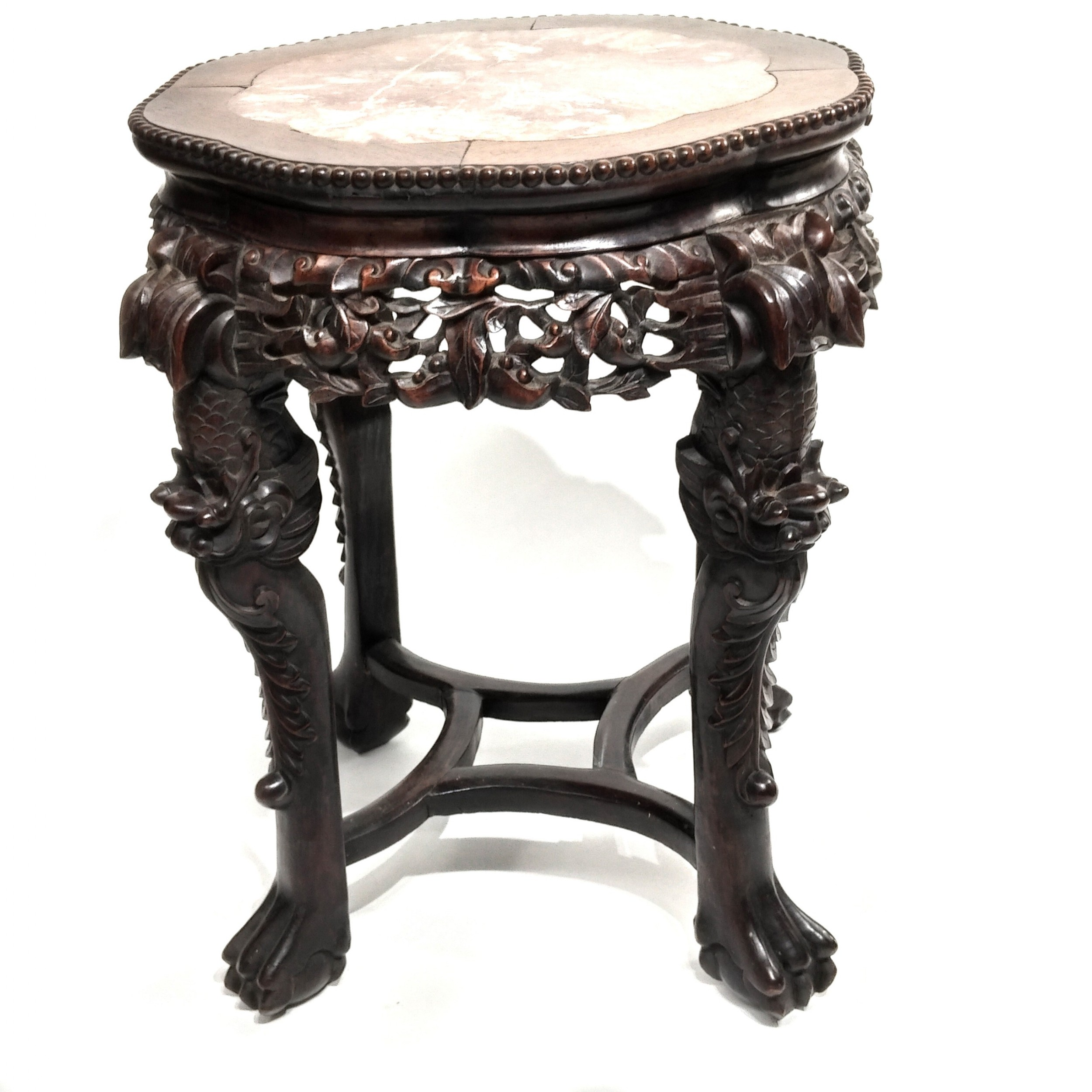 chinese marble topped wood stand