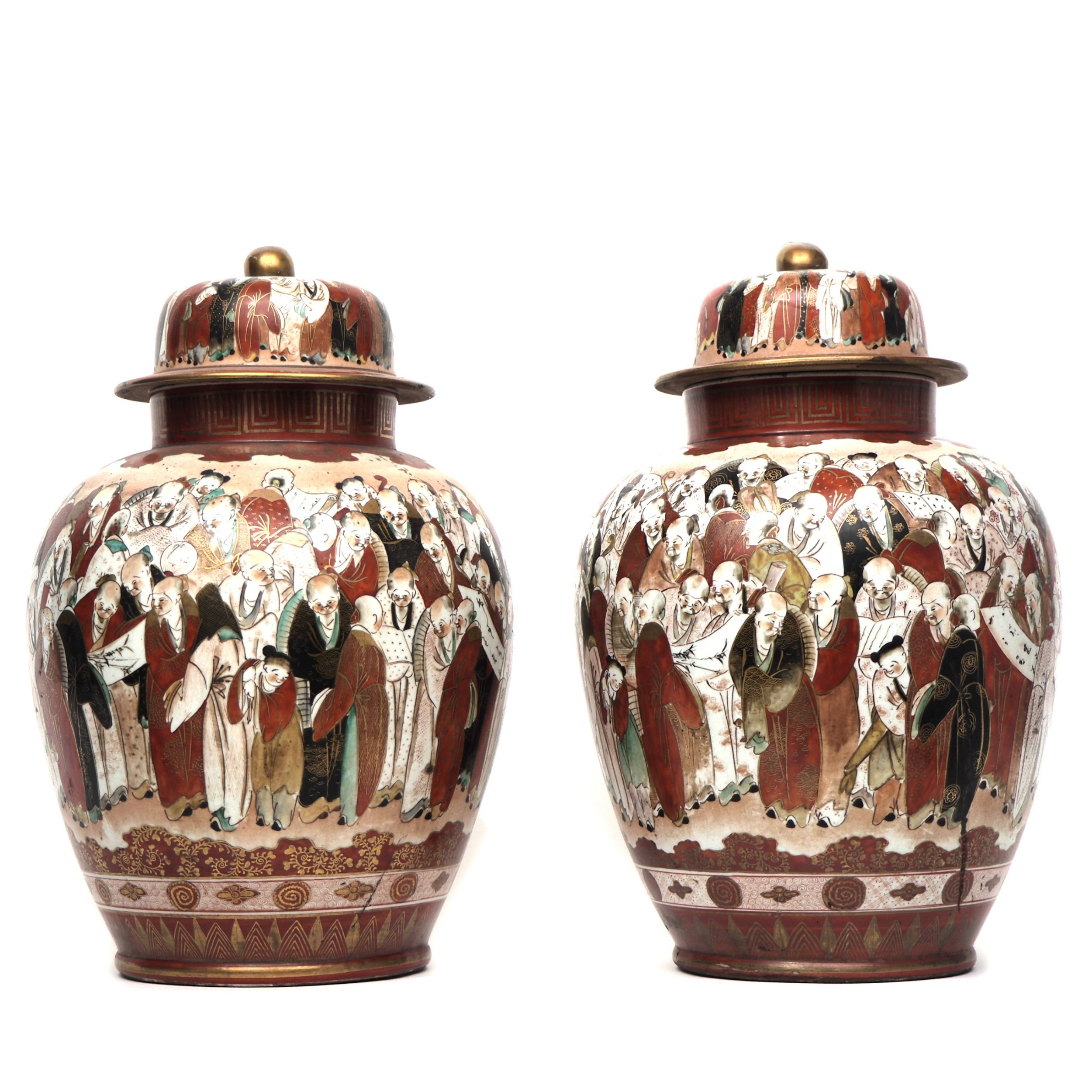 pair japanese kutani vases decorated with crowds of people