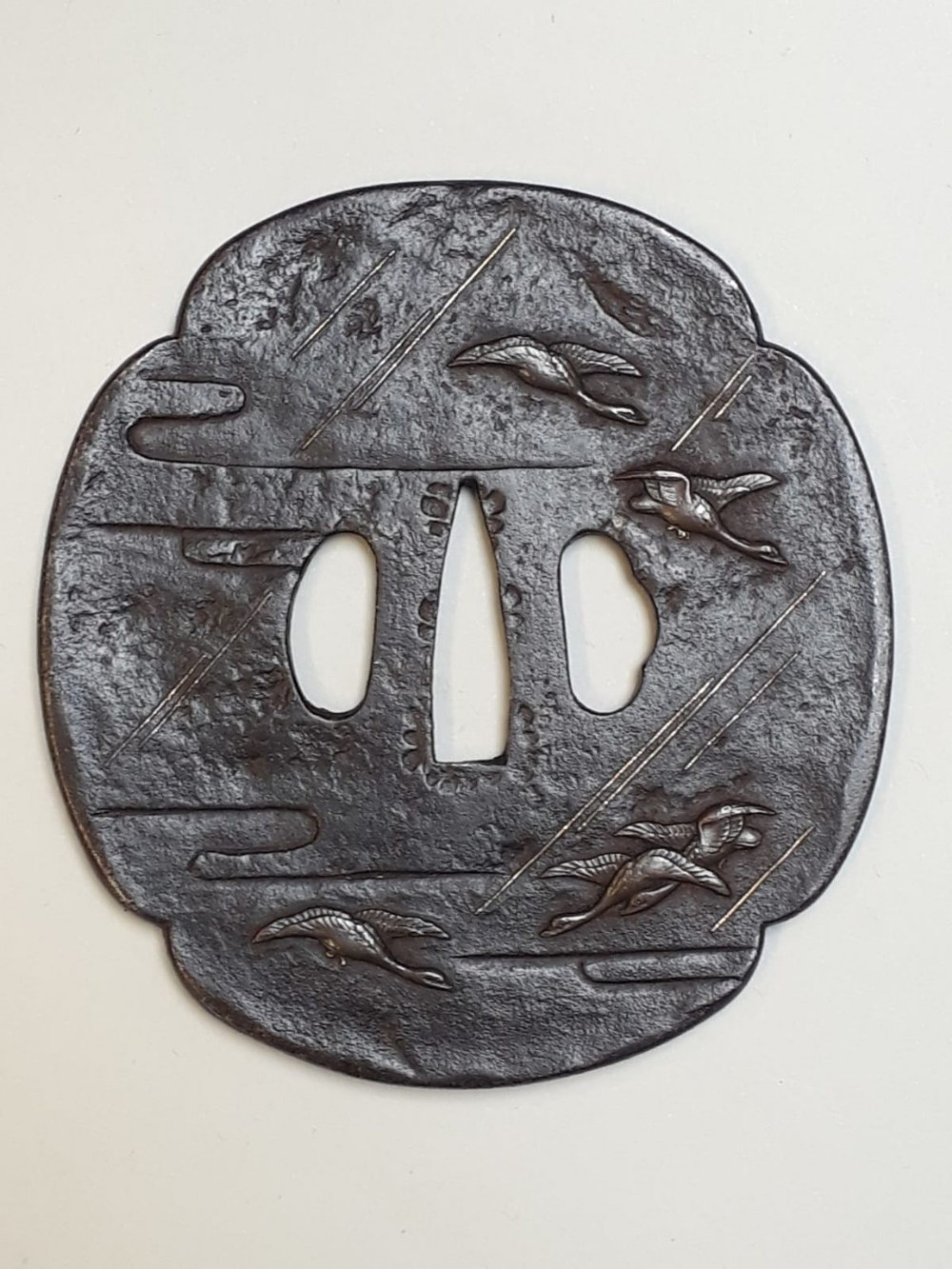 japanese meiji period iron tsuba with flying geese