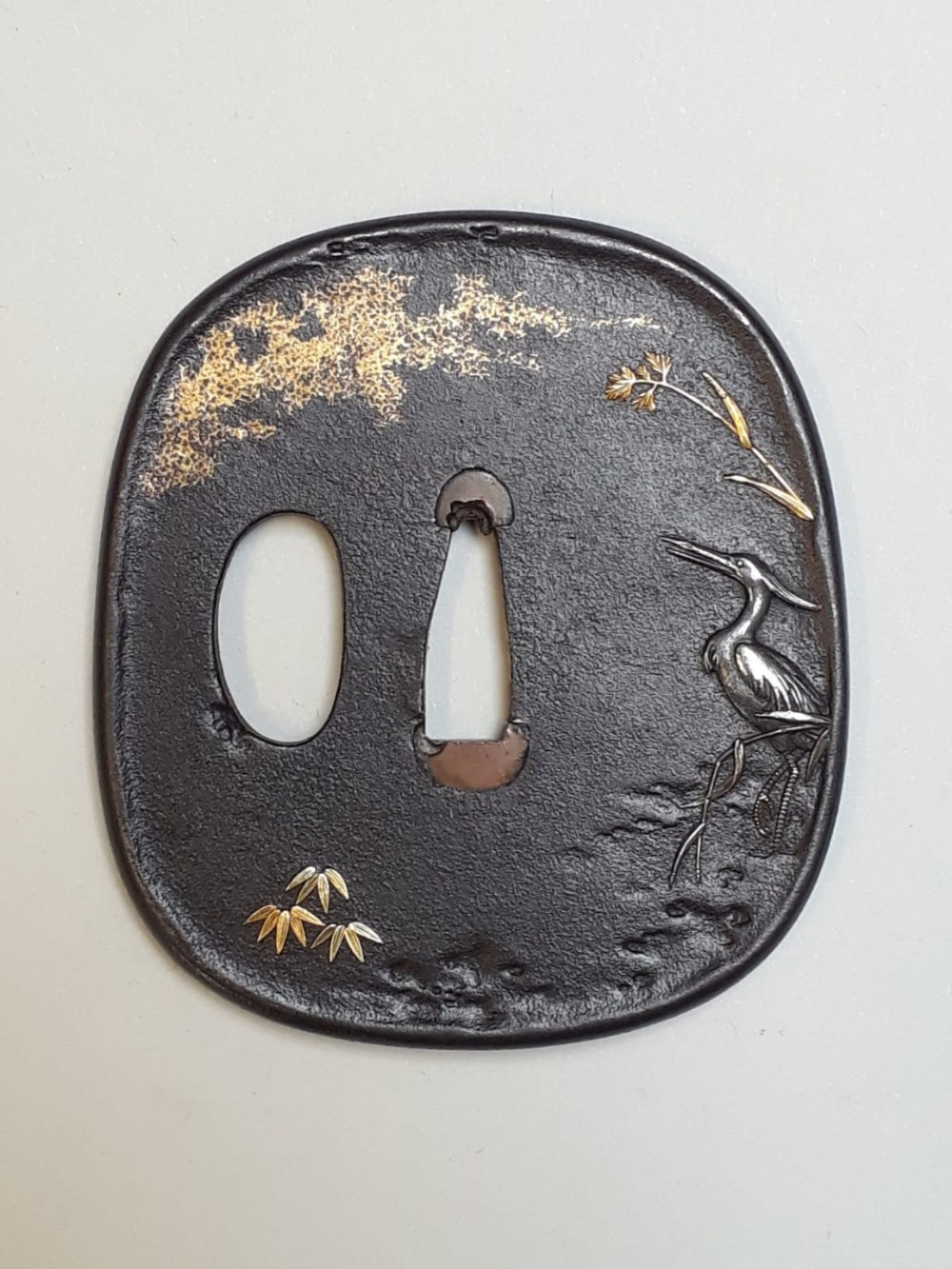 japanese meiji period iron tsuba with a fishing egret