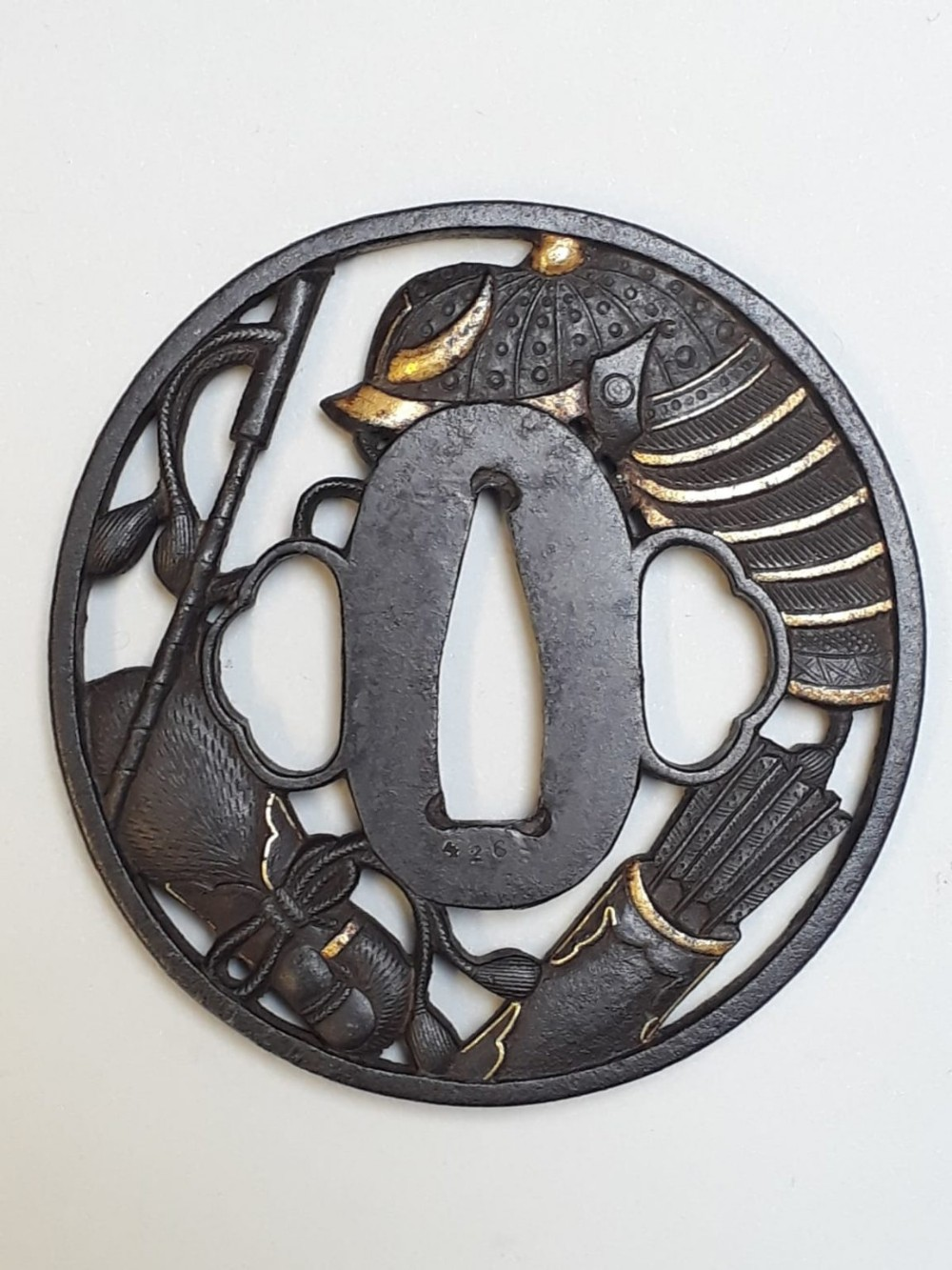 japanese meiji period iron tsuba with cut out design of samurai objects