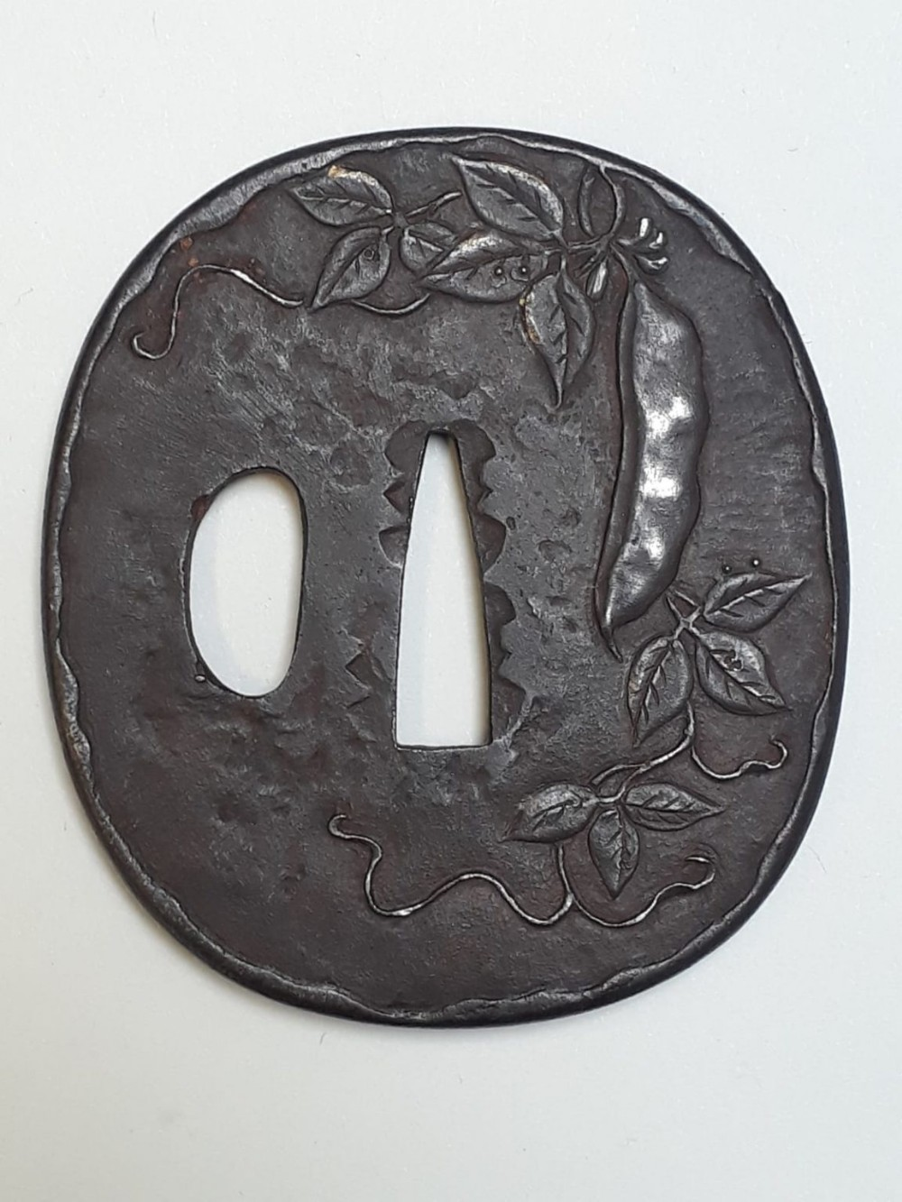 japanese meiji period iron tsuba with peapods