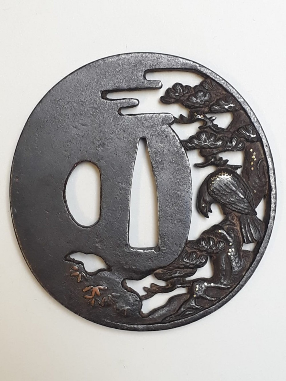 japanese iron tsuba with a hawk