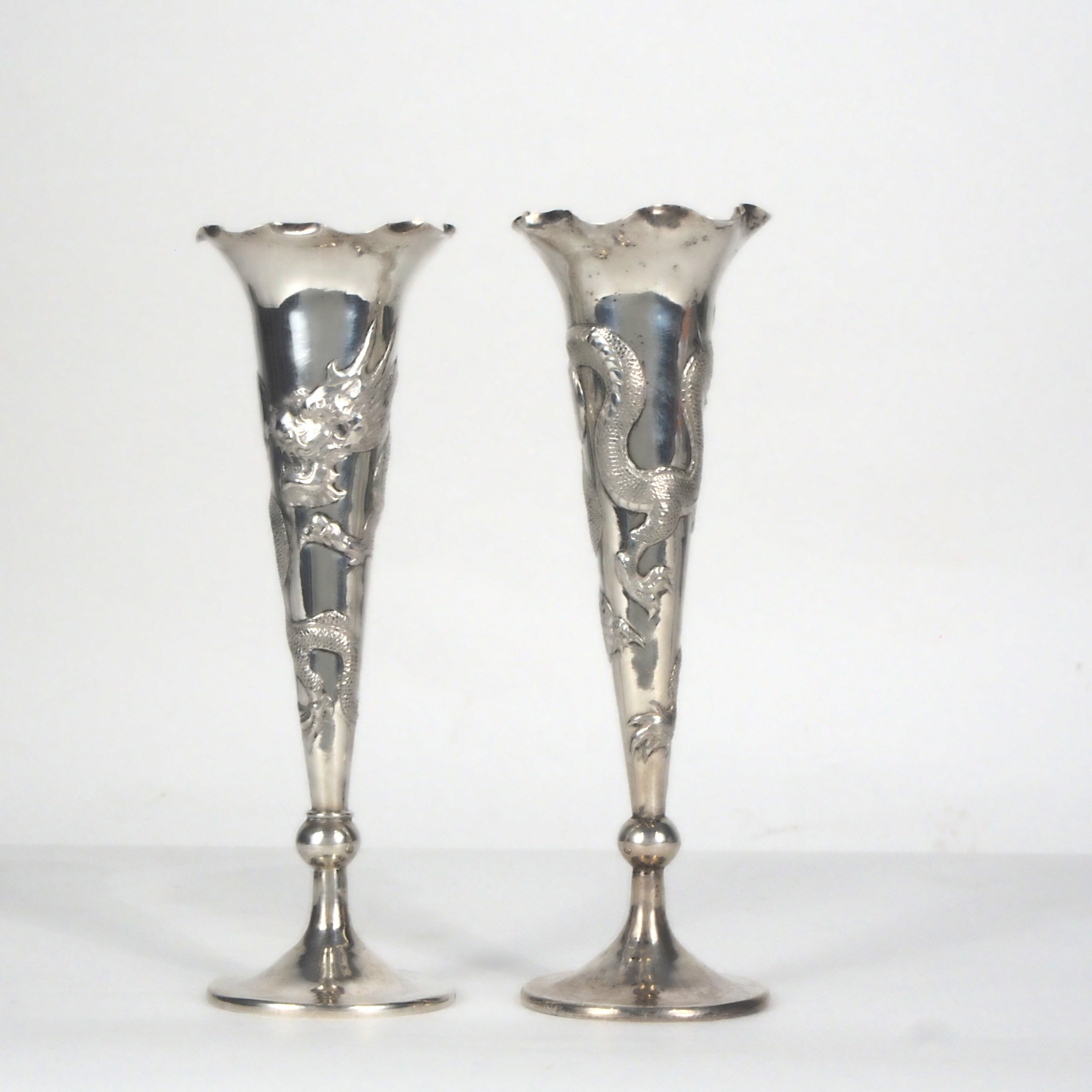 pair chinese silver fluted vases decorated with dragons