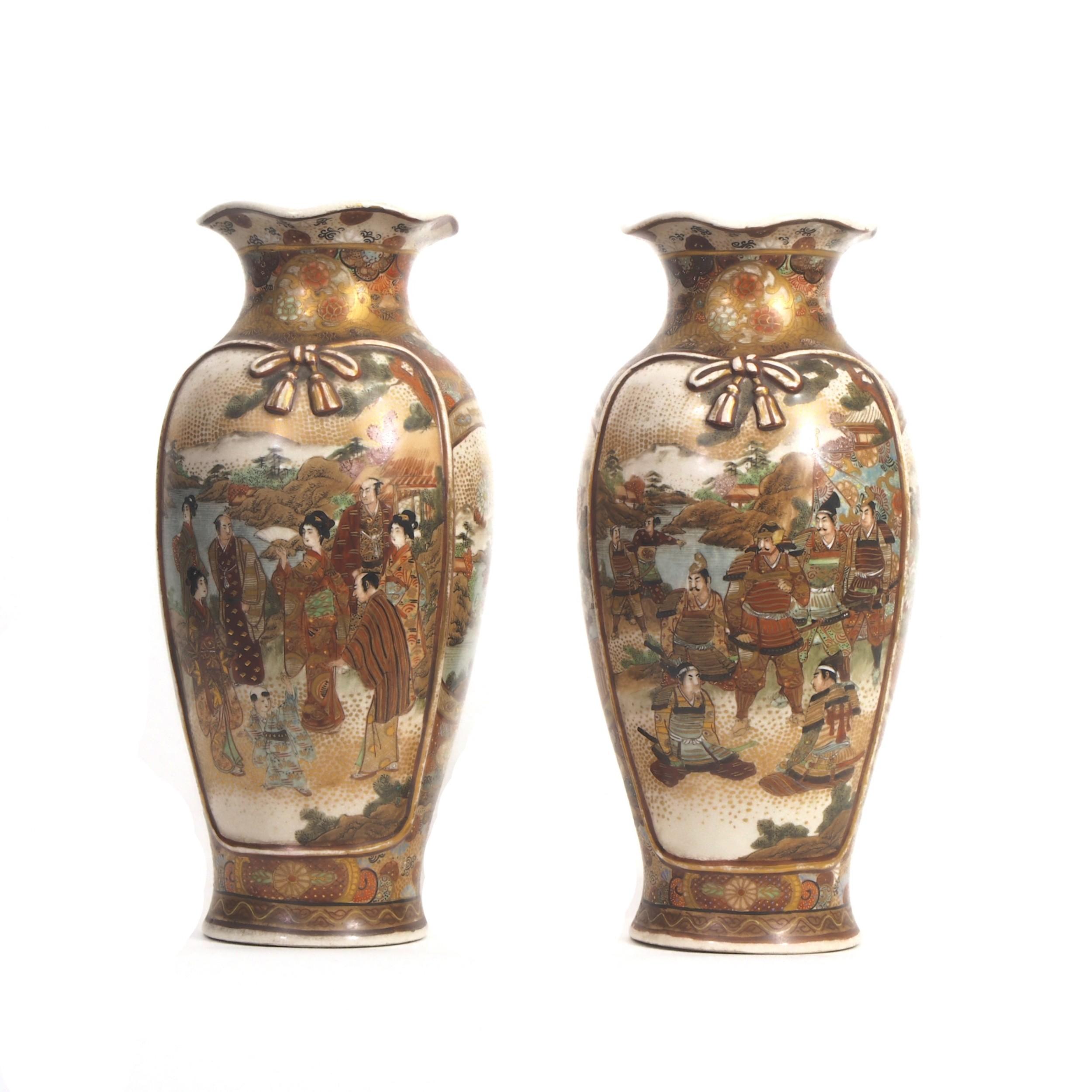 pair japanese satsuma vases