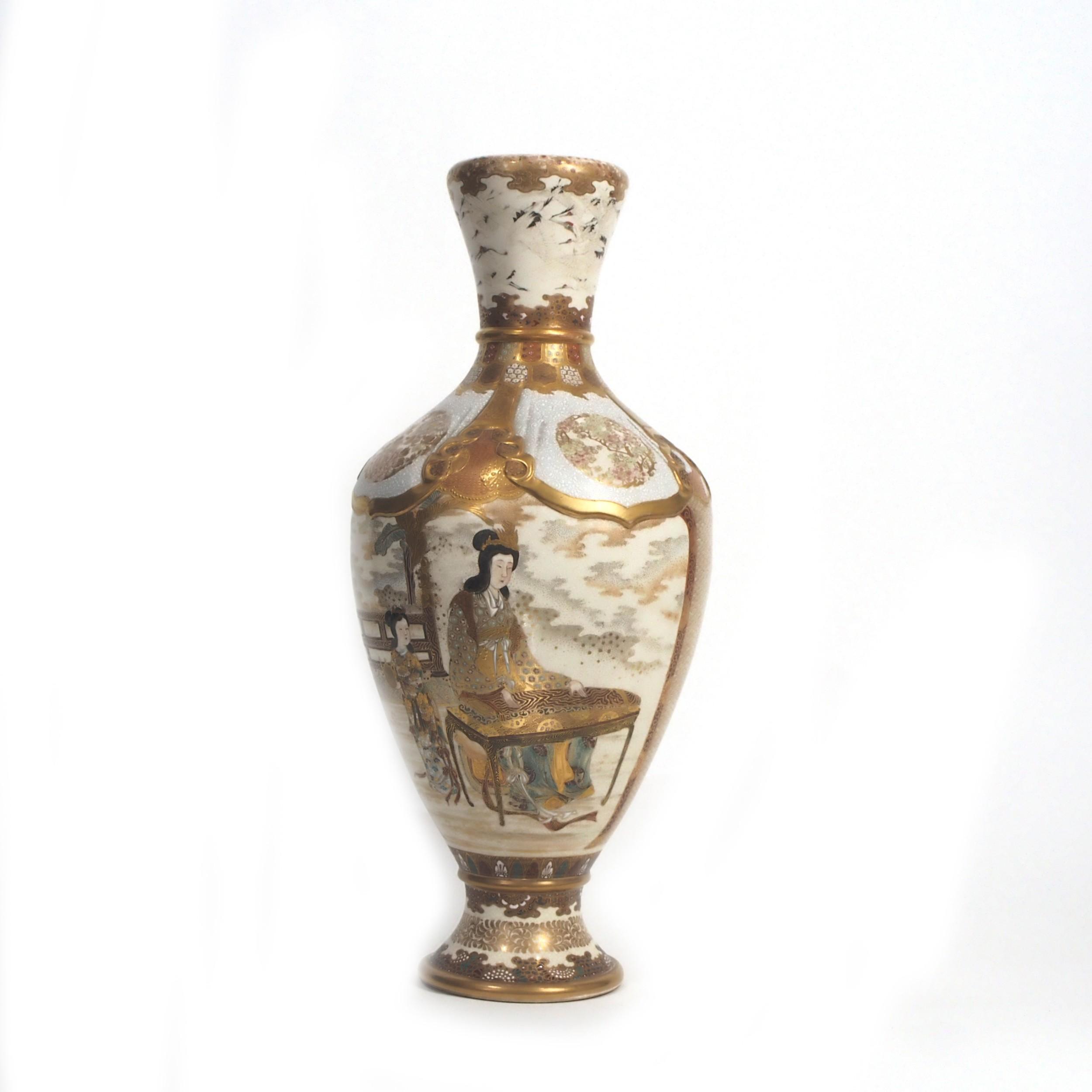 elegant japanese satsuma vase with decoration of a lady