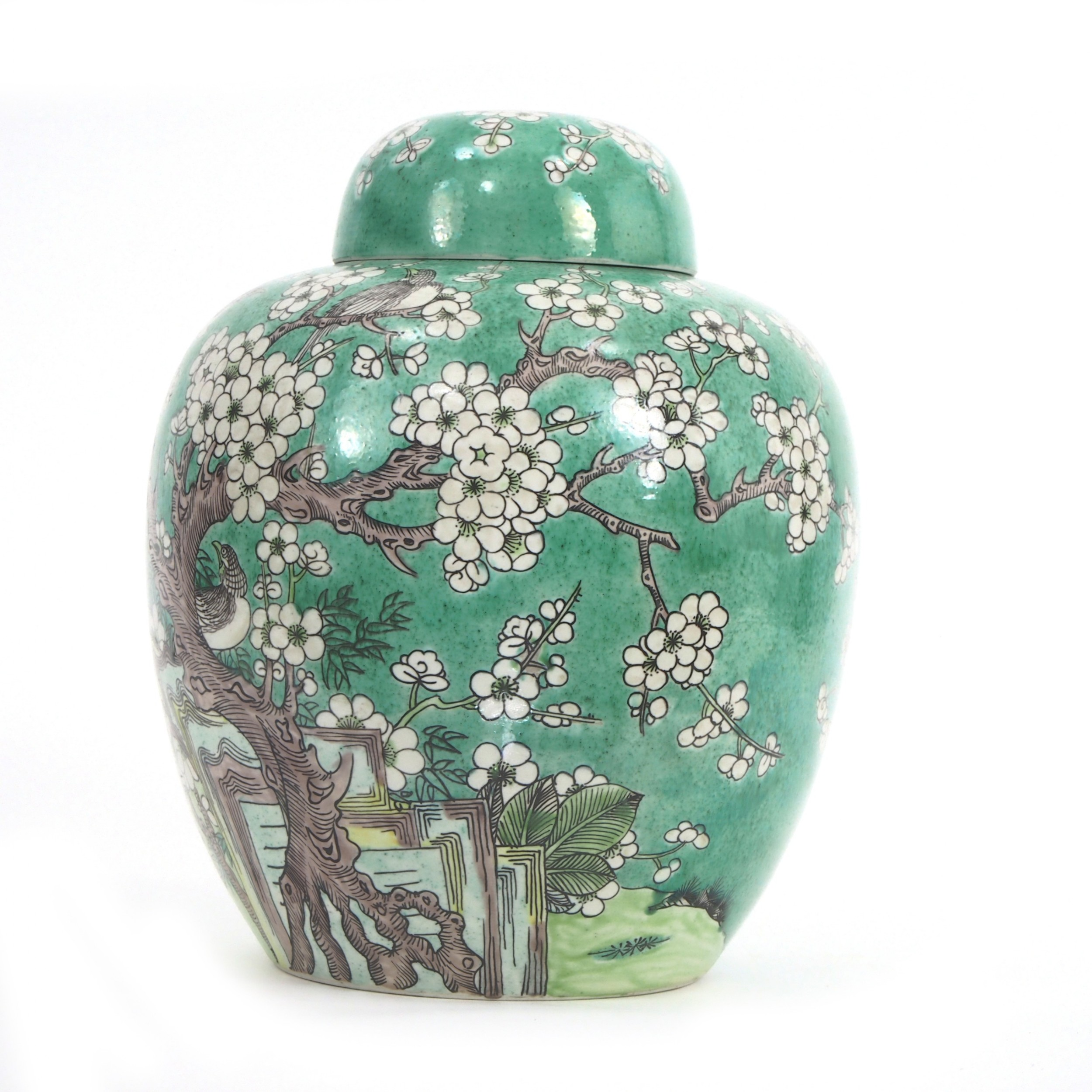 chinese green ginger jar and cover