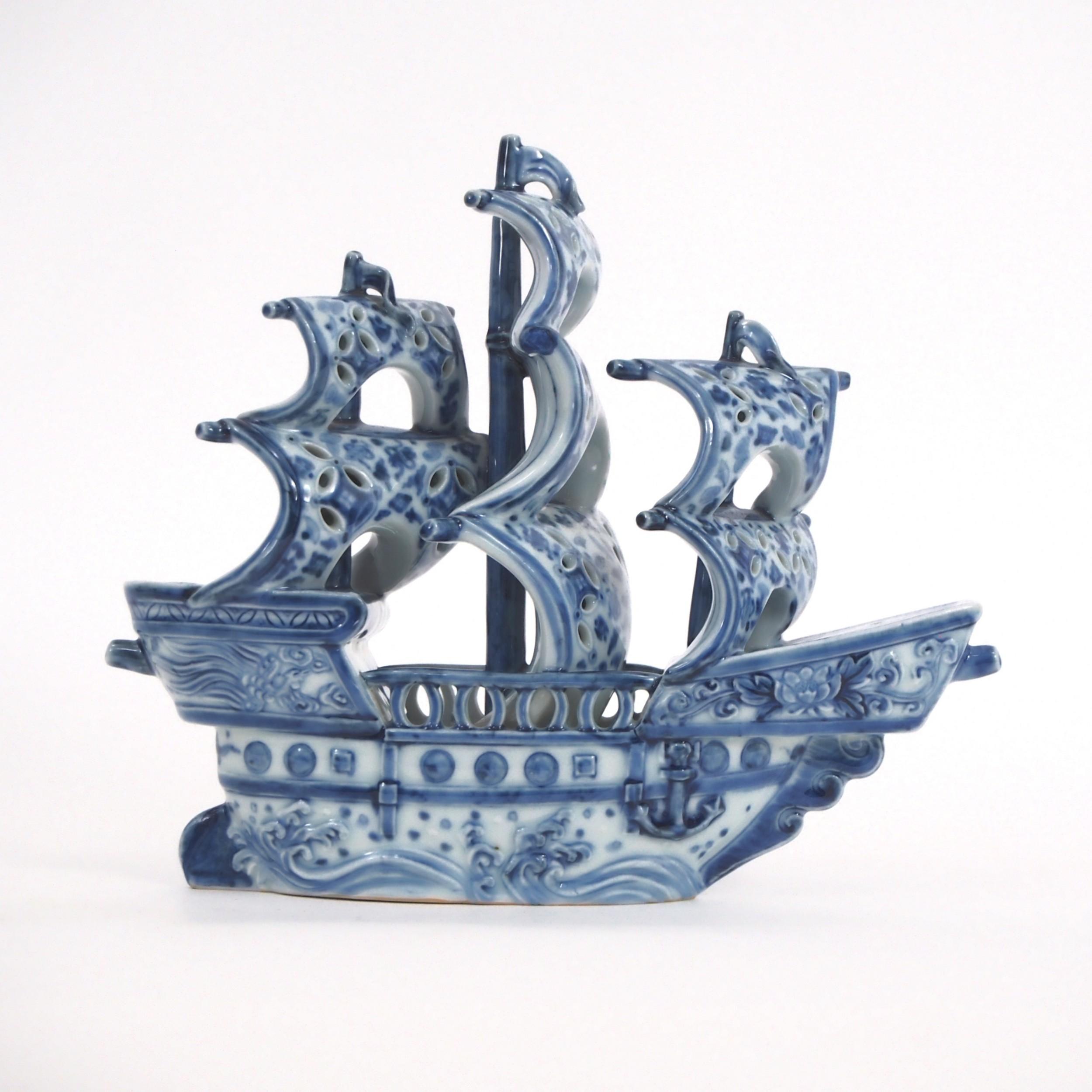unusual japanese arita porcelain ship