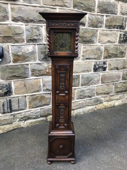 small antique oak weight driven granddaughter clock