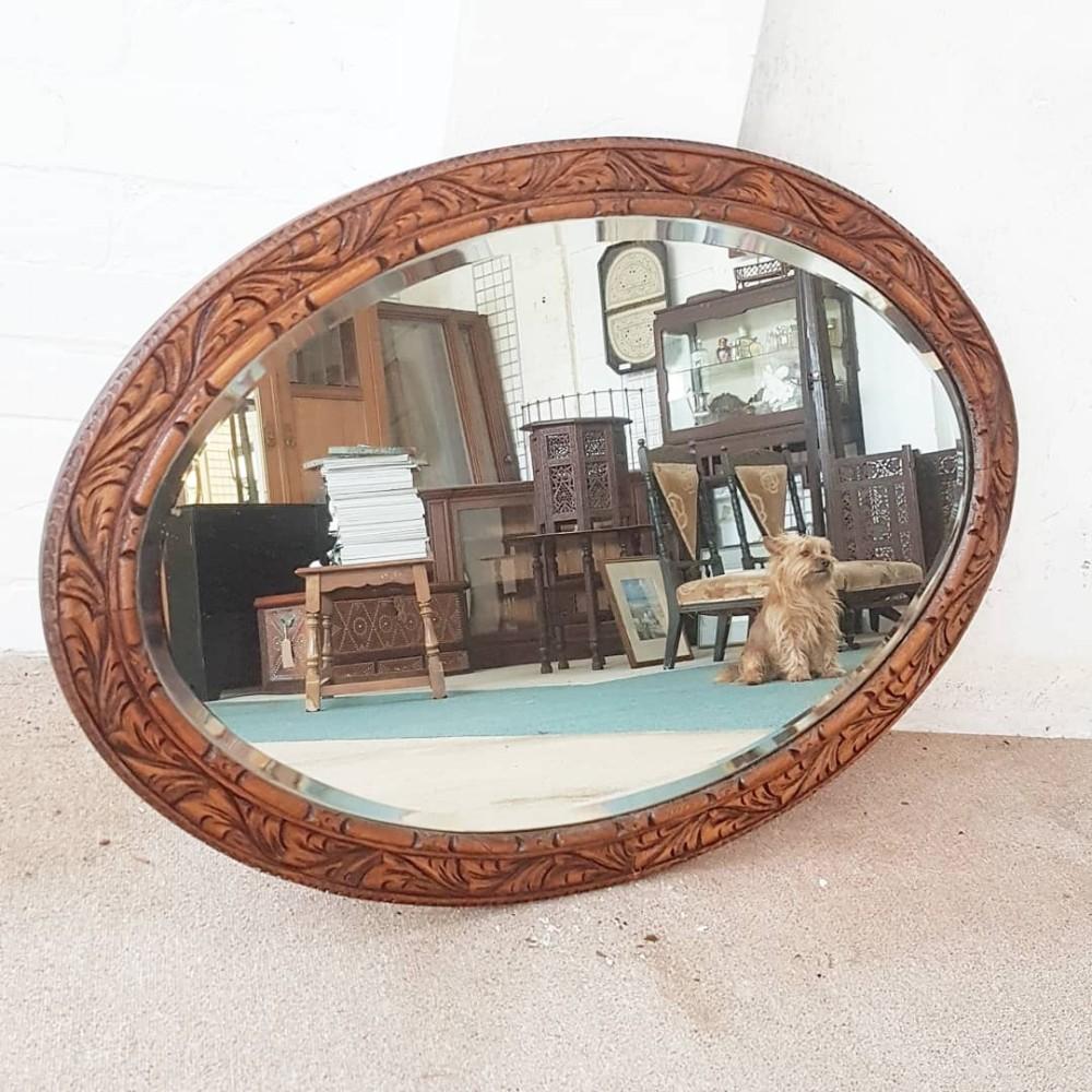 edwardian oak mirror