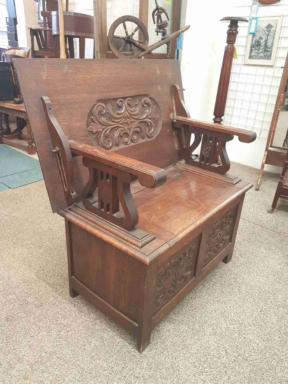 edwardian oak bench
