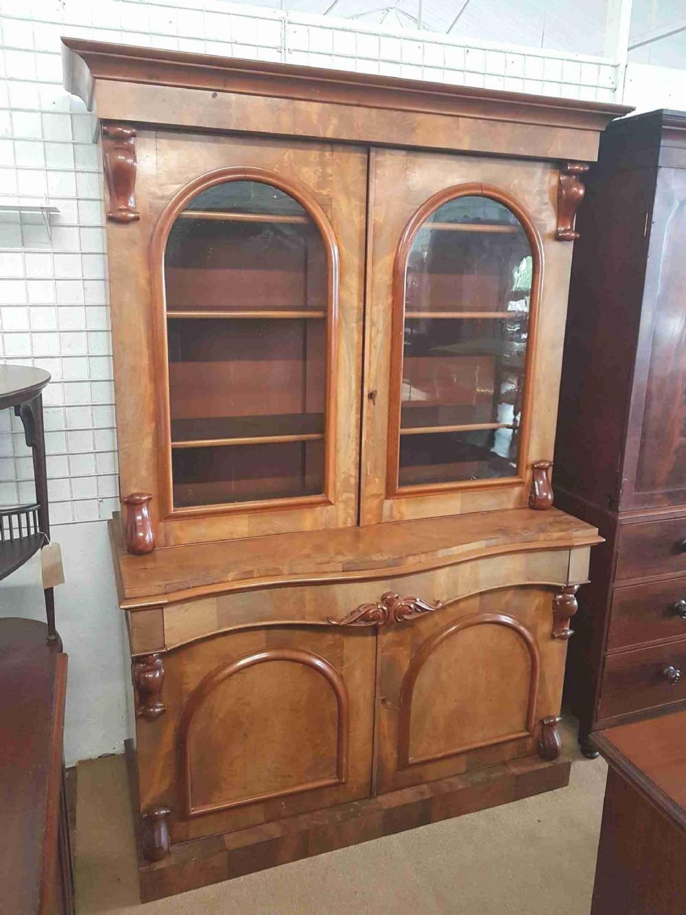 victorian serpentine bookcase