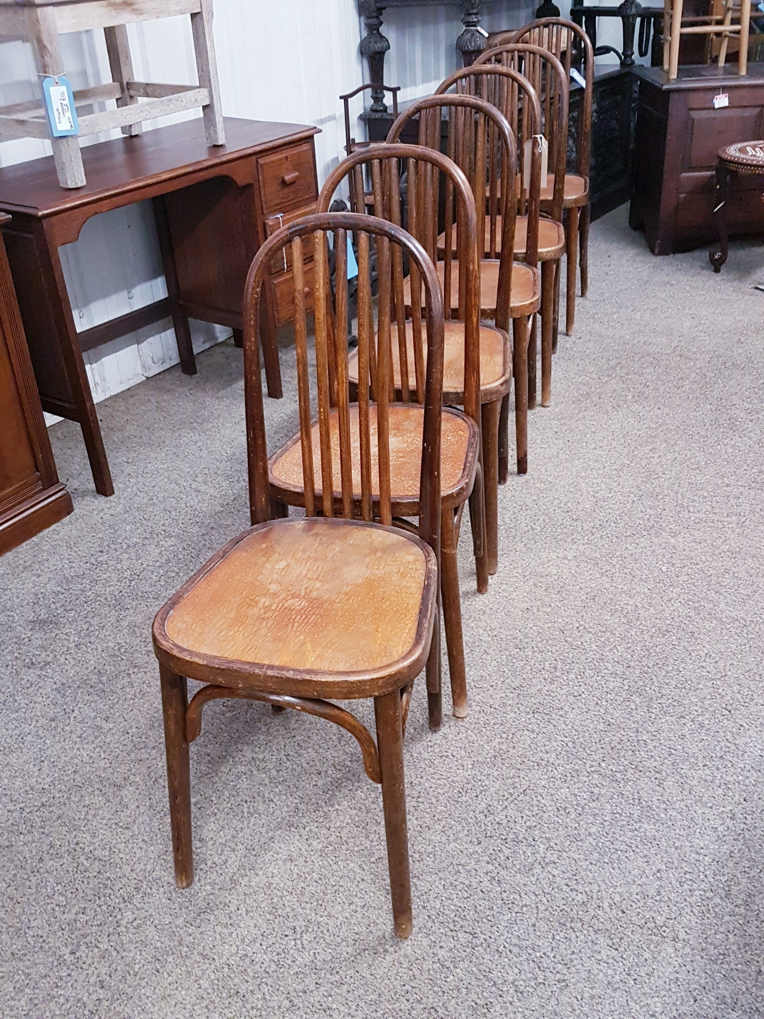 6 bentwood chairs