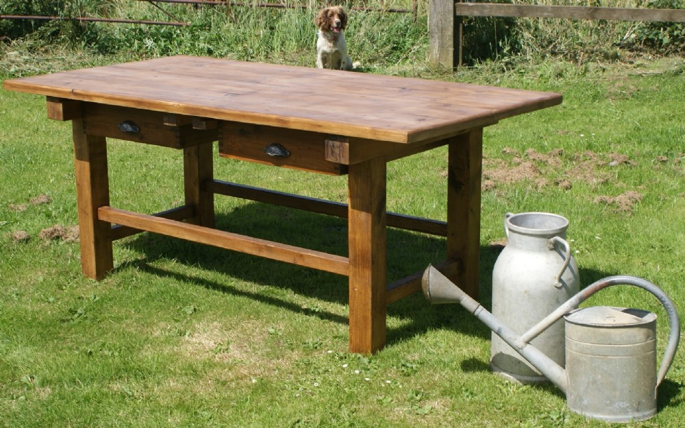 heavy large dutch pine sycamore refectory kitchen table with drawers