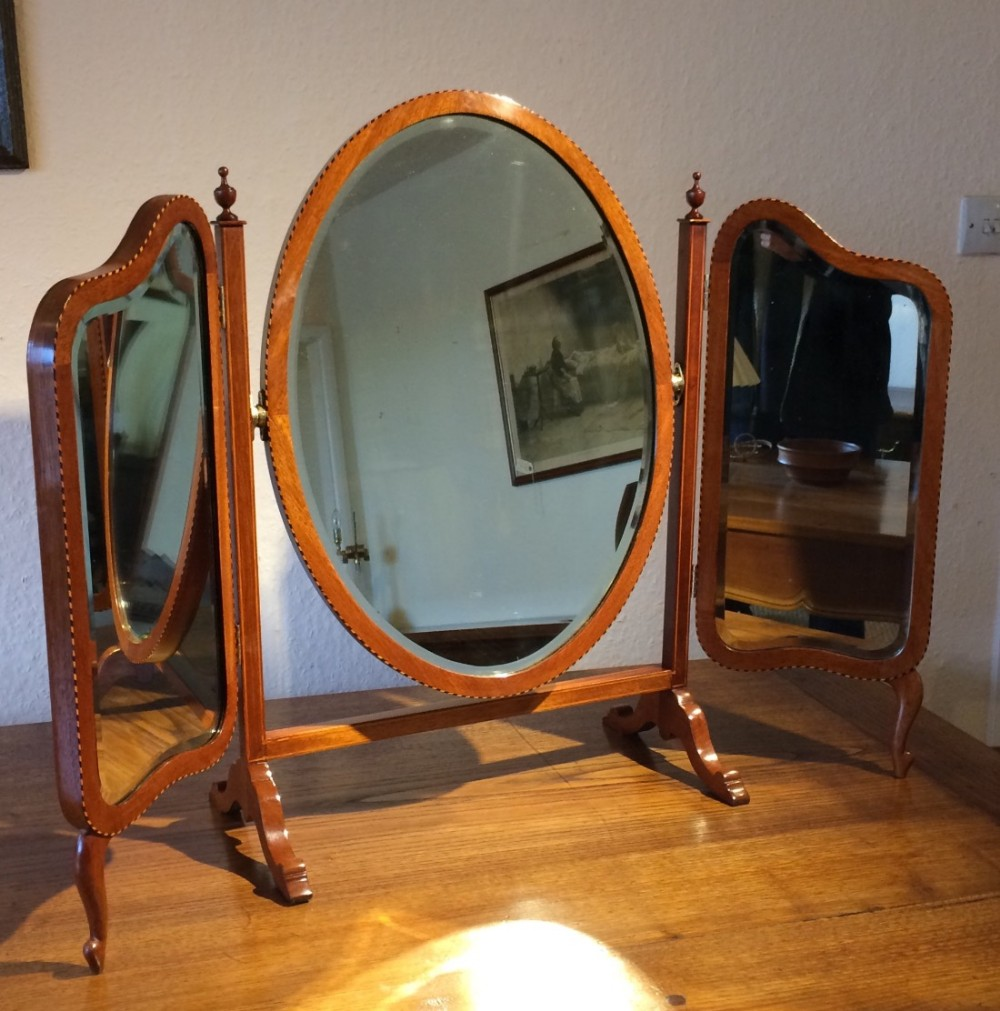 mahogany triptych mirror