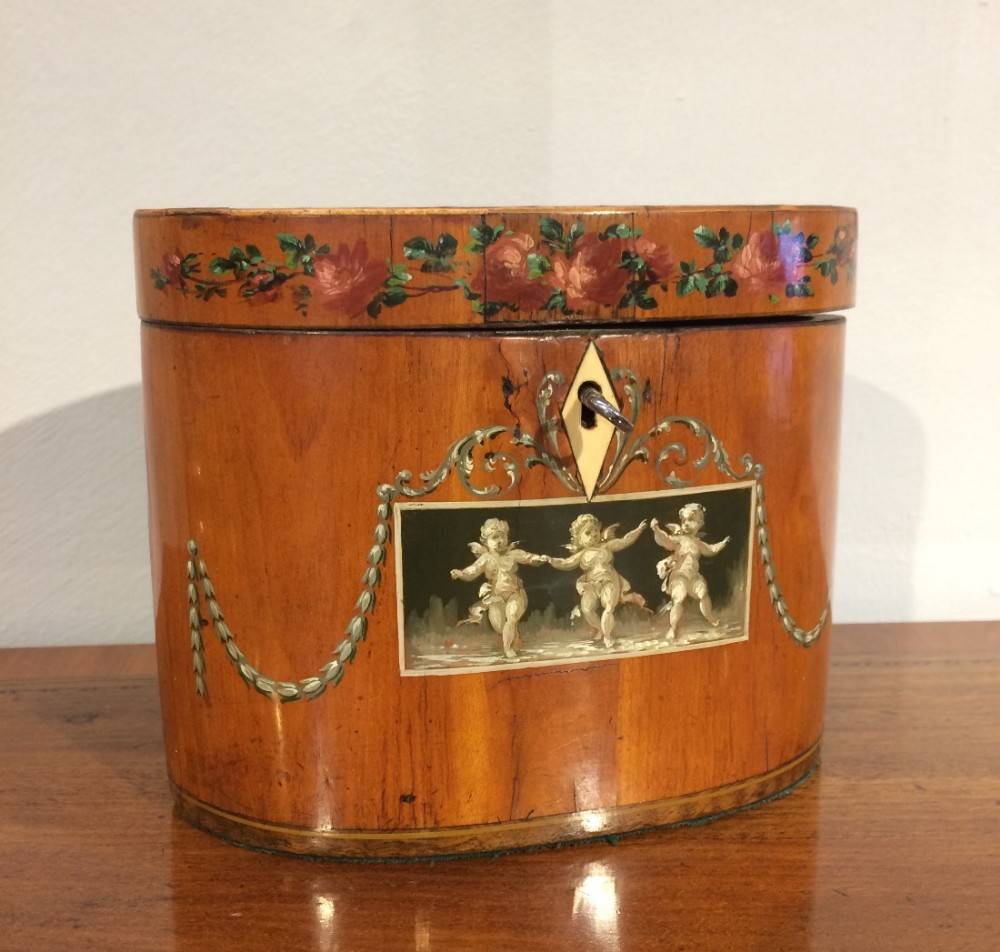 18th century satinwood oval tea caddy
