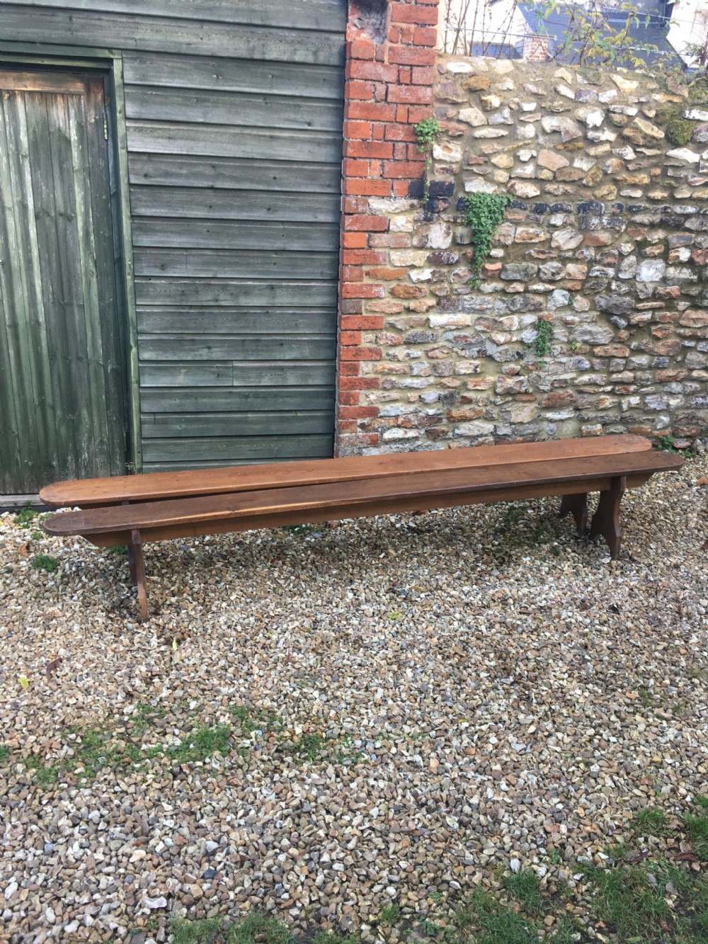 long pair of oak benches