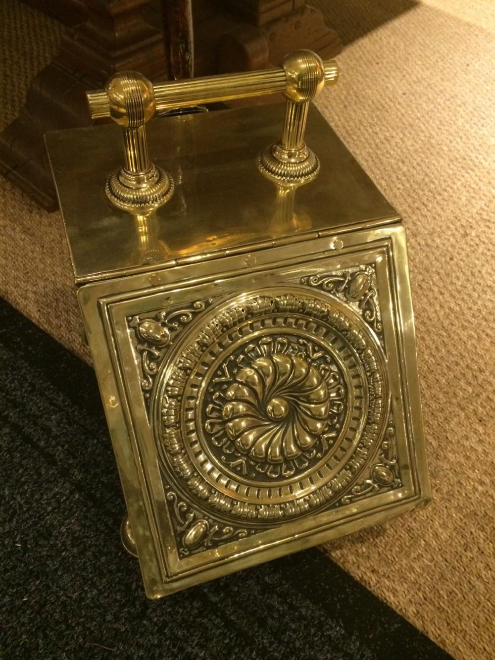 polished brass coal scuttle