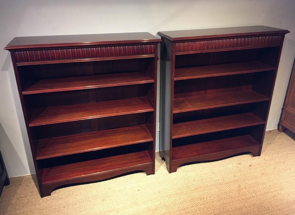pair of mahogany bookcases