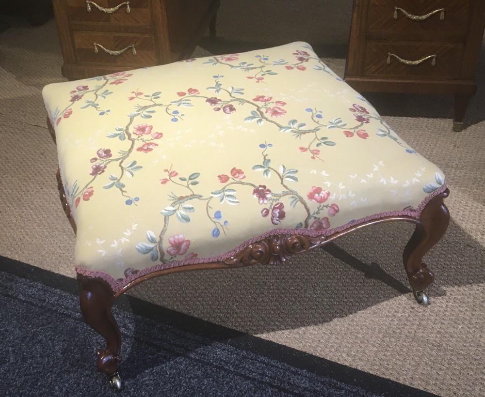 large victorian walnut stool